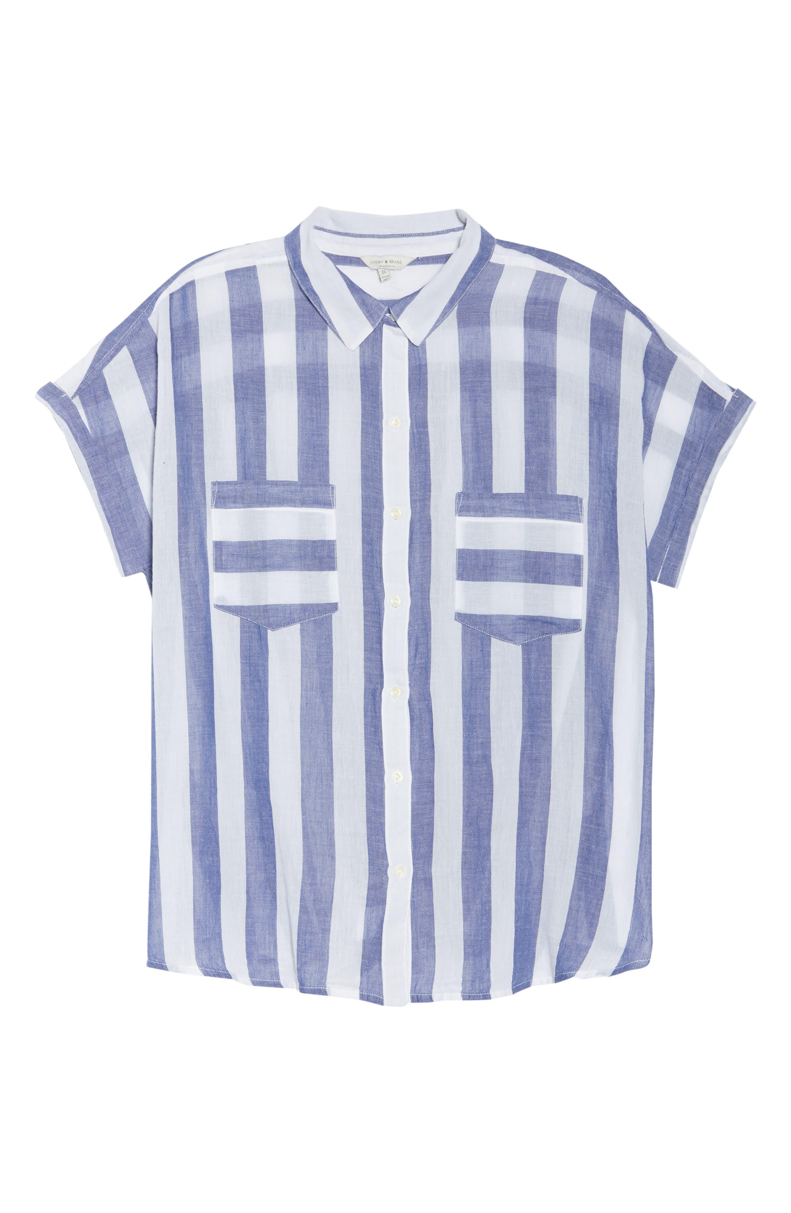 Stripe Back Tie Shirt,                             Alternate thumbnail 7, color,
