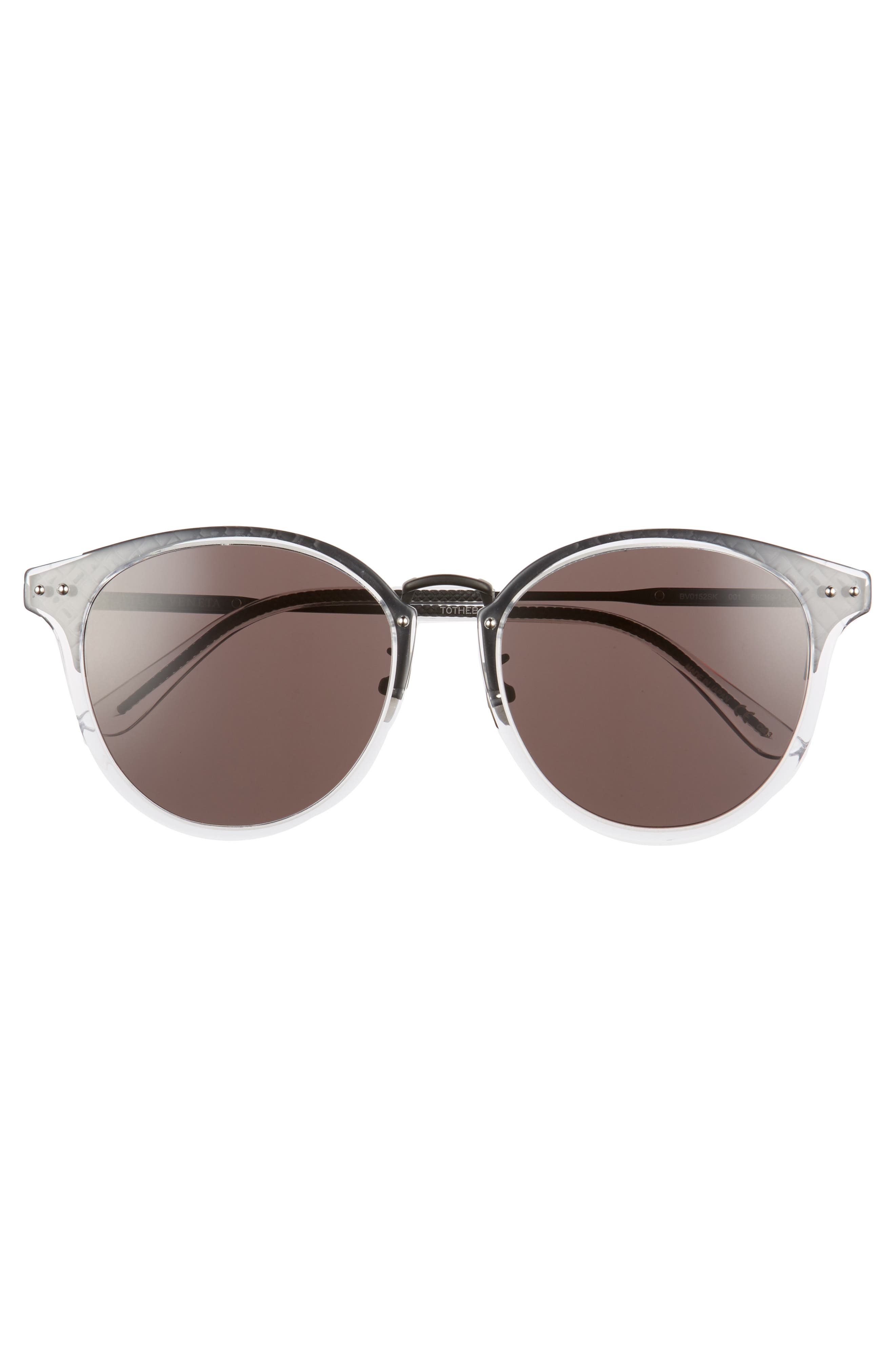 56mm Round Sunglasses,                             Alternate thumbnail 3, color,                             BRONZE
