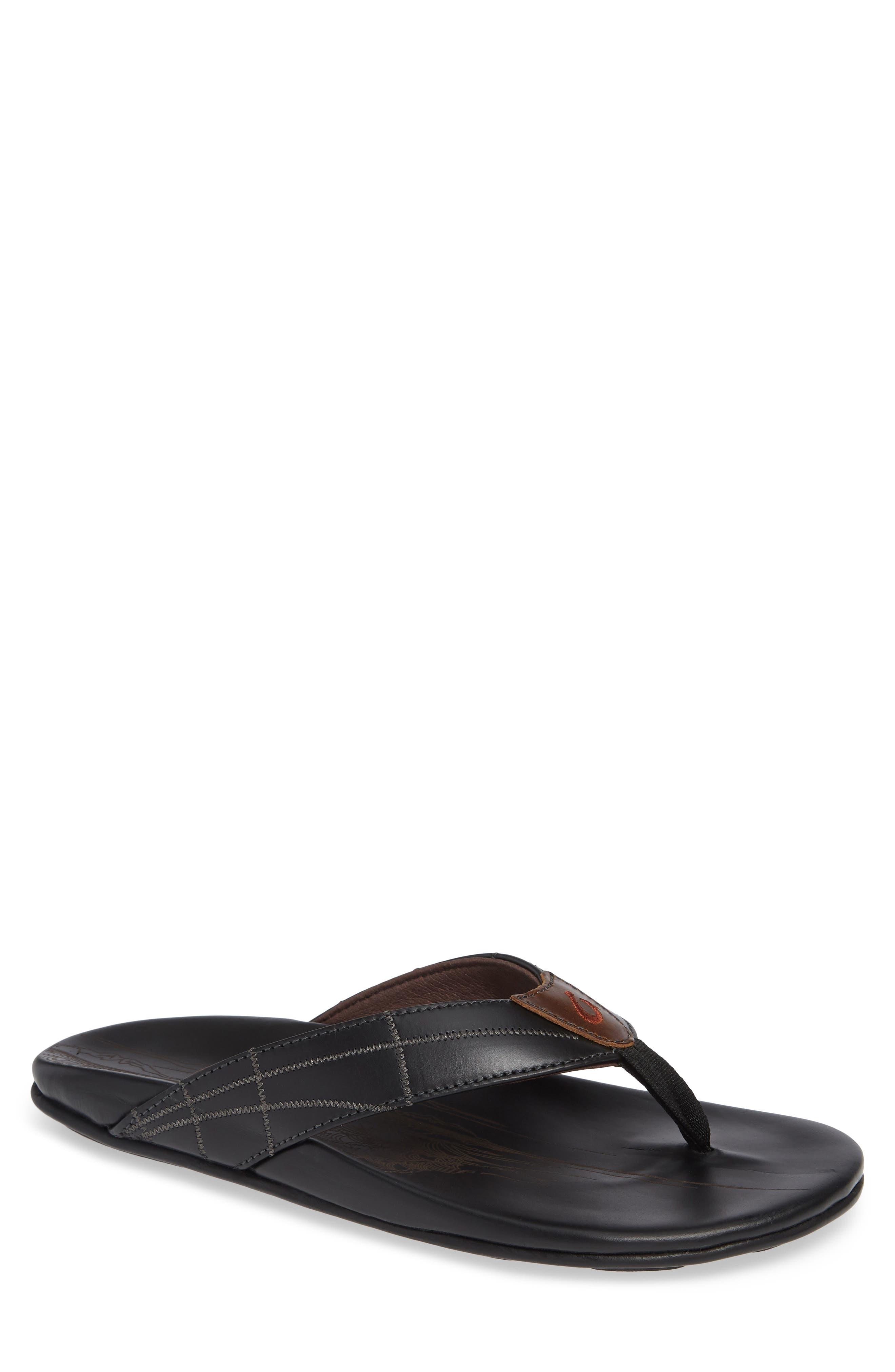 Hokule A Kia Flip Flop,                         Main,                         color, BLACK/ BLACK