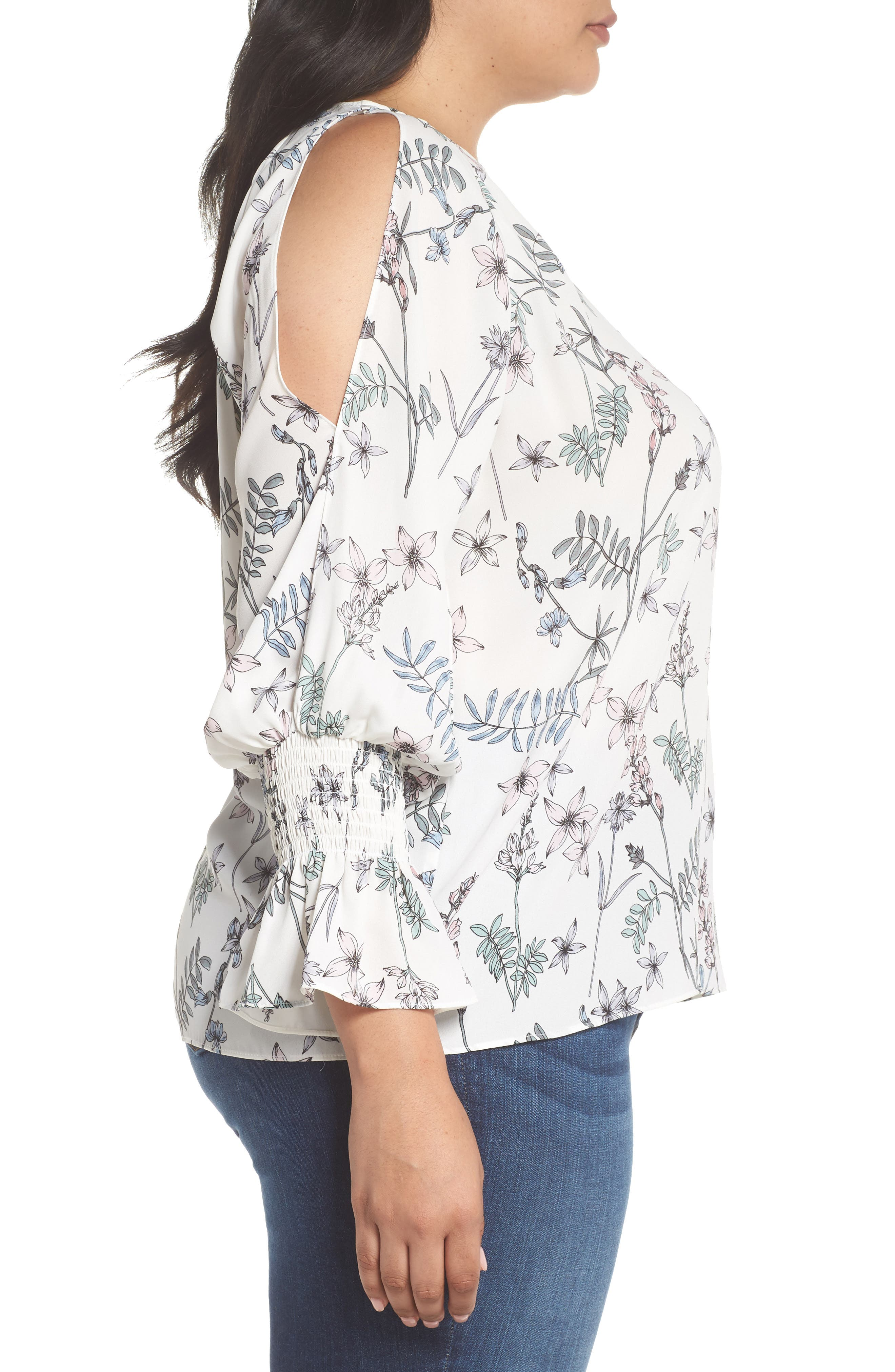 Cold Shoulder Flare Cuff Top,                             Alternate thumbnail 3, color,                             NEW IVORY