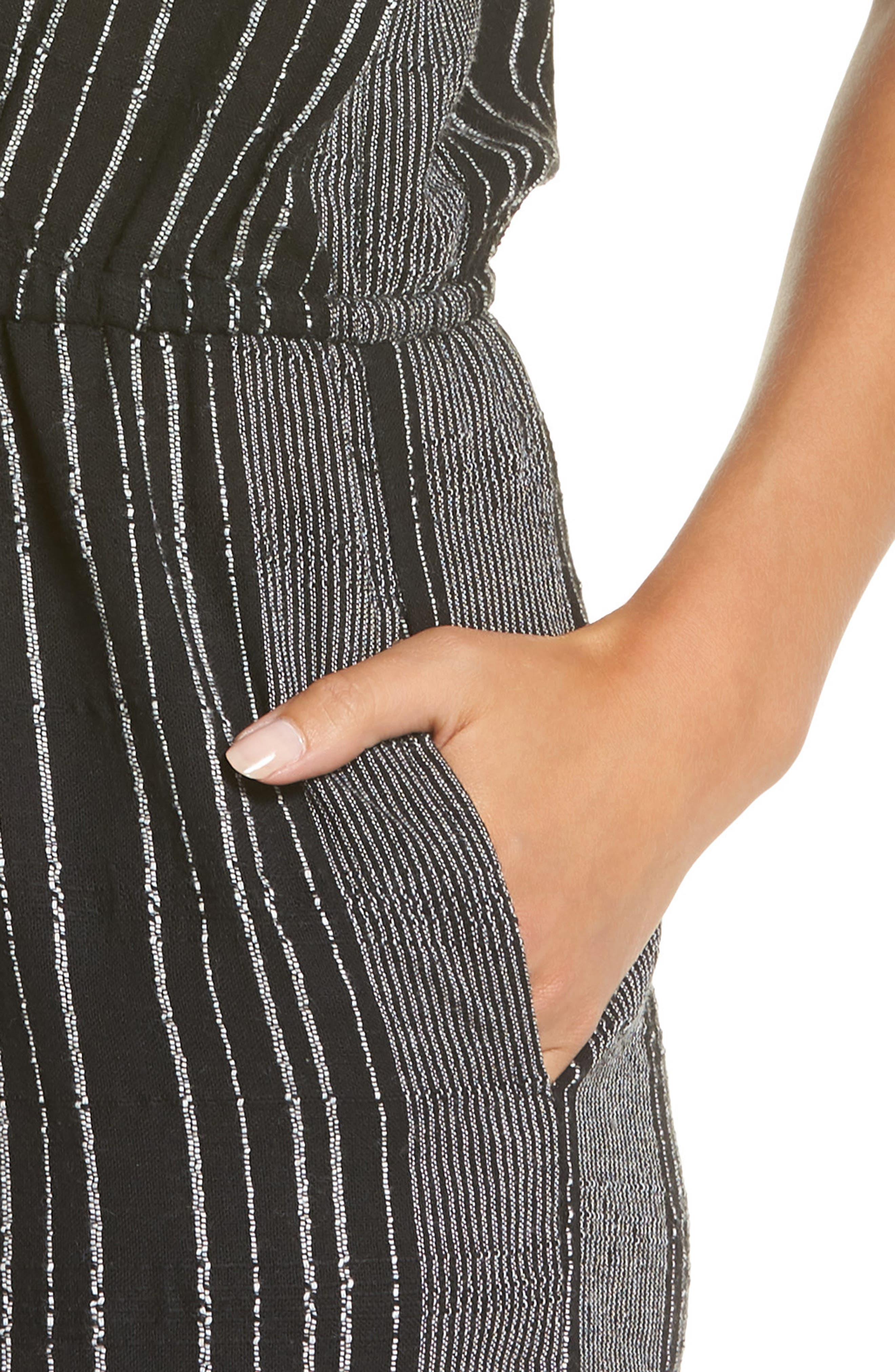Strapless Cover-Up Culotte Jumpsuit,                             Alternate thumbnail 4, color,                             BLACK/ WHITE STRIPE