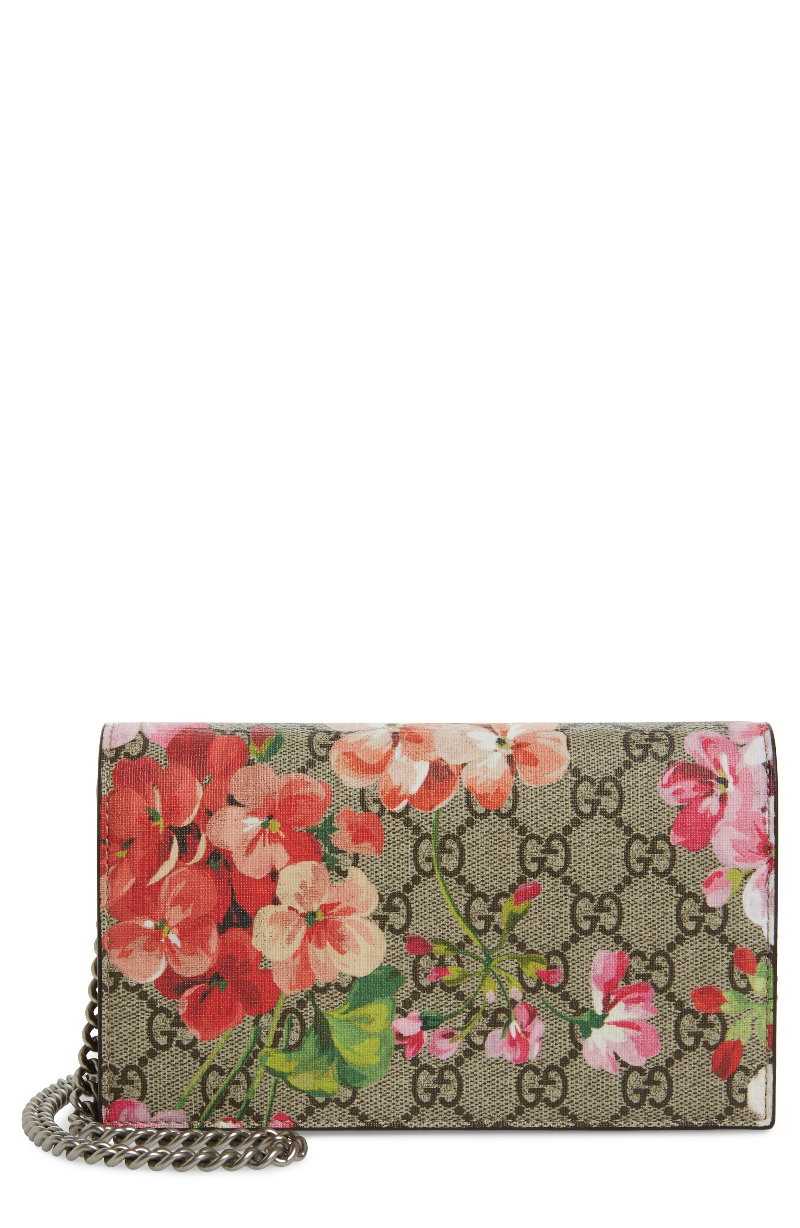 GG Blooms Supreme Canvas Wallet on a Chain,                             Main thumbnail 1, color,                             291