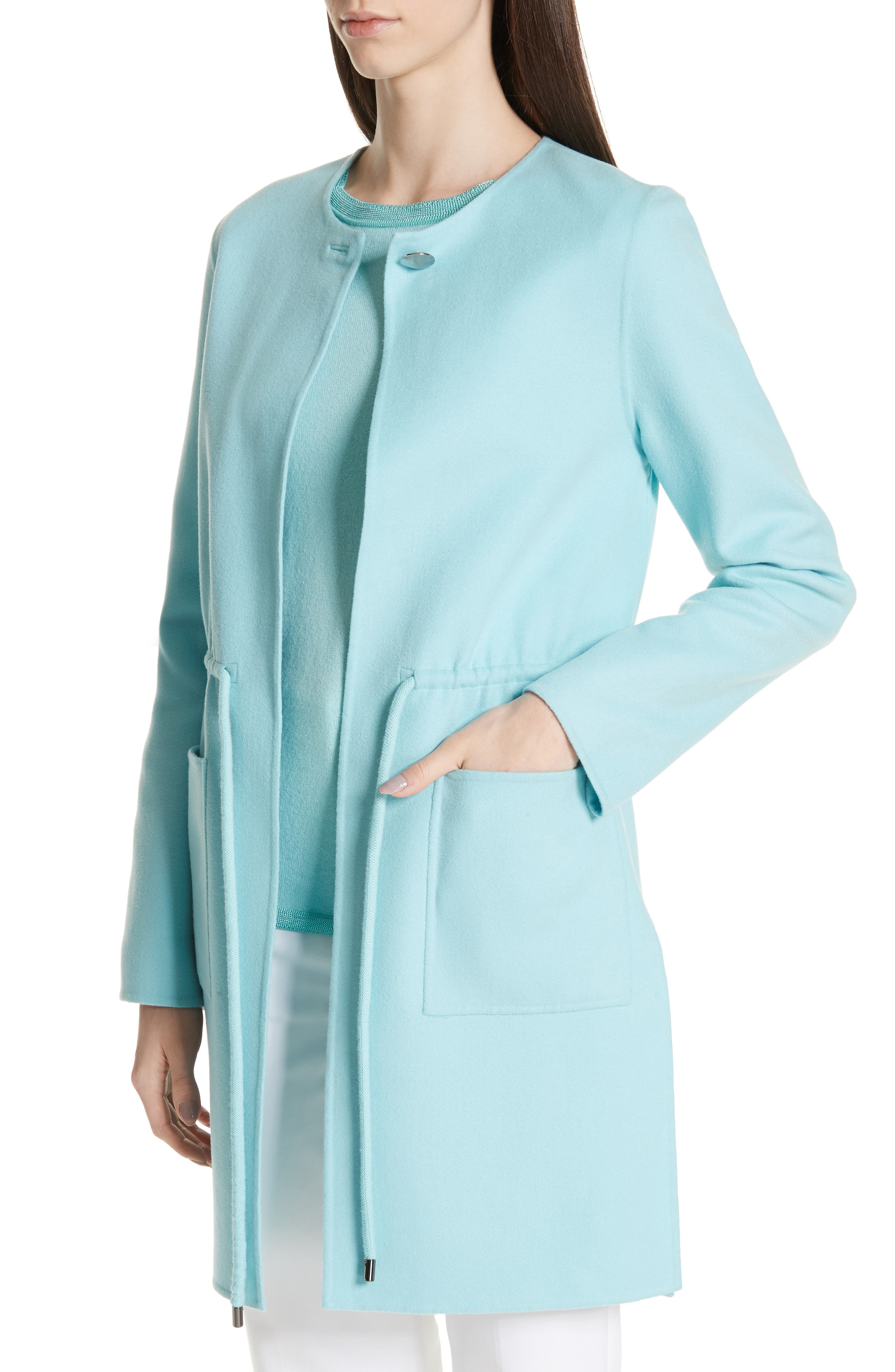 ST. JOHN COLLECTION,                             Double Face Wool & Cashmere Jacket,                             Alternate thumbnail 5, color,                             AQUAMARINE
