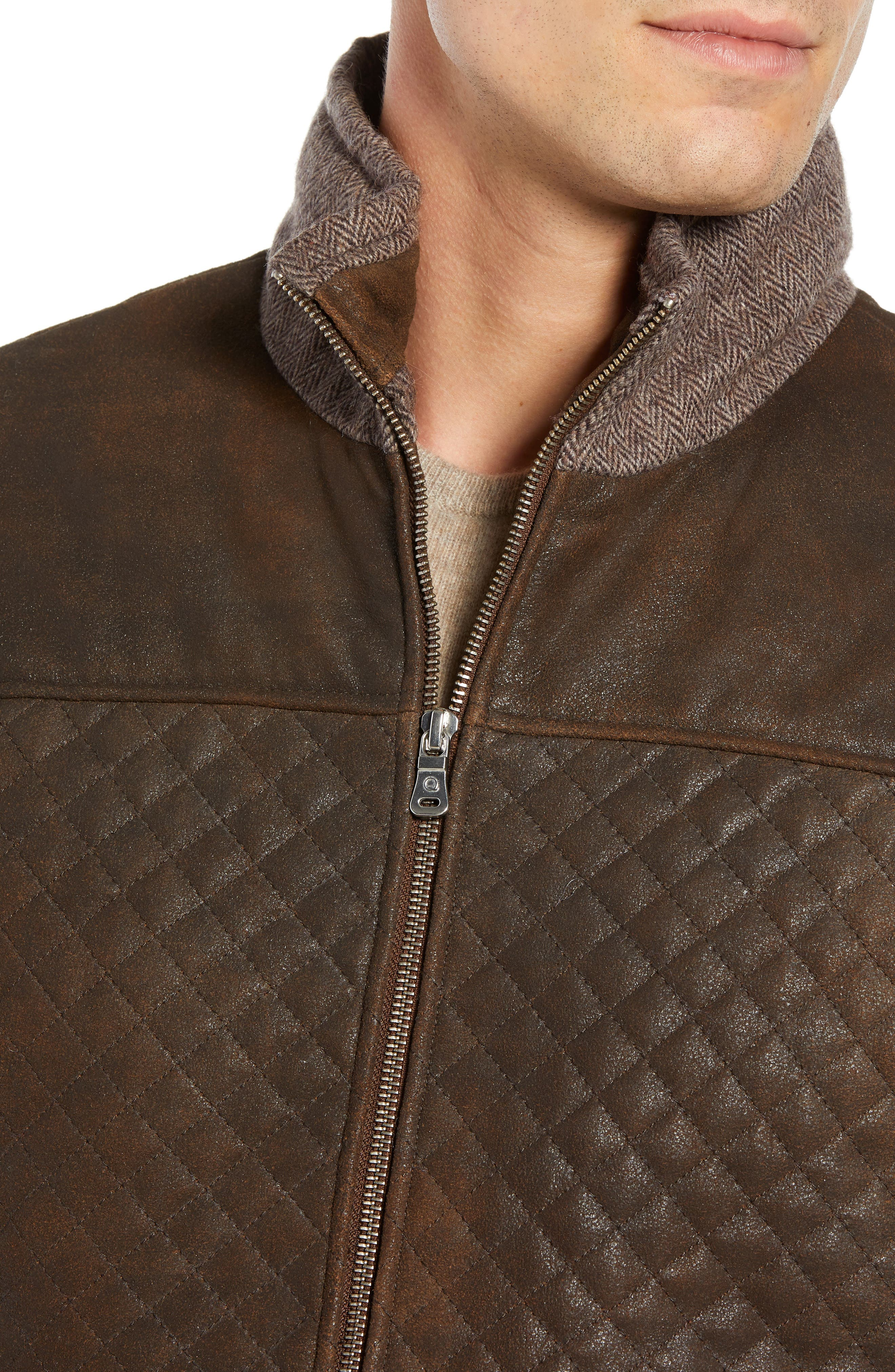 Quilted Leather & Wool Vest,                             Alternate thumbnail 4, color,                             201