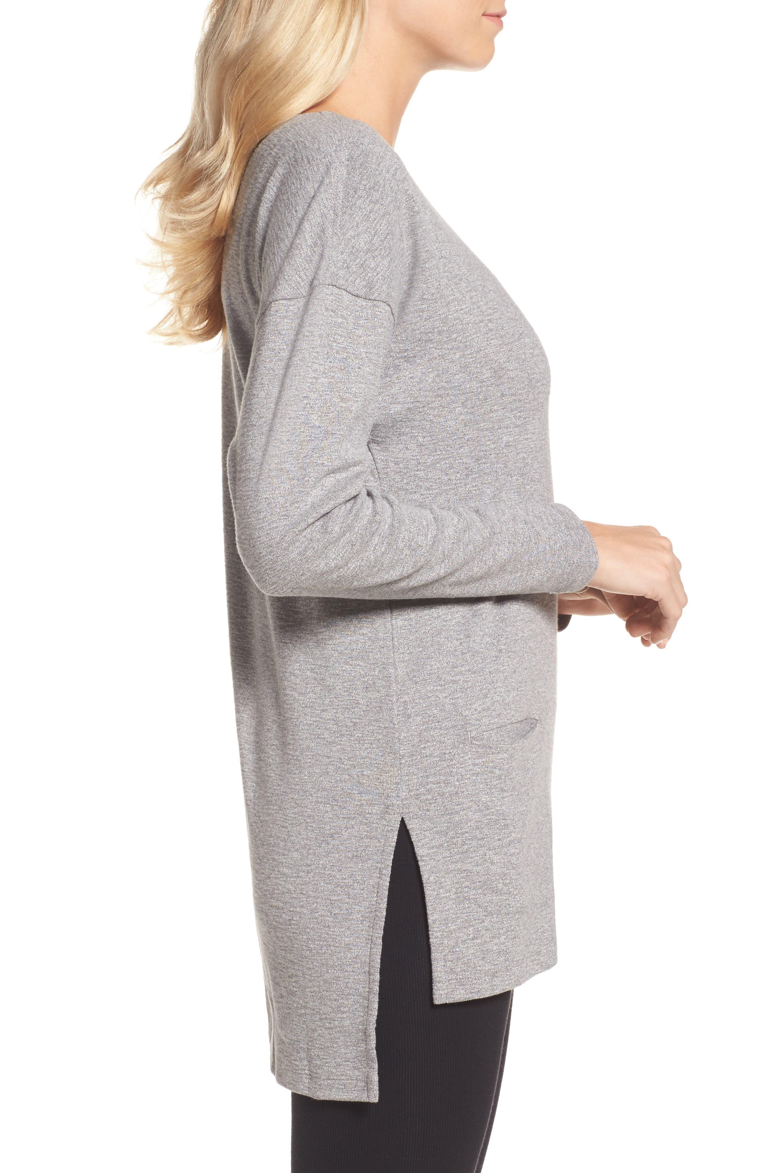 Luella High/Low Cotton Pullover,                             Alternate thumbnail 3, color,                             041