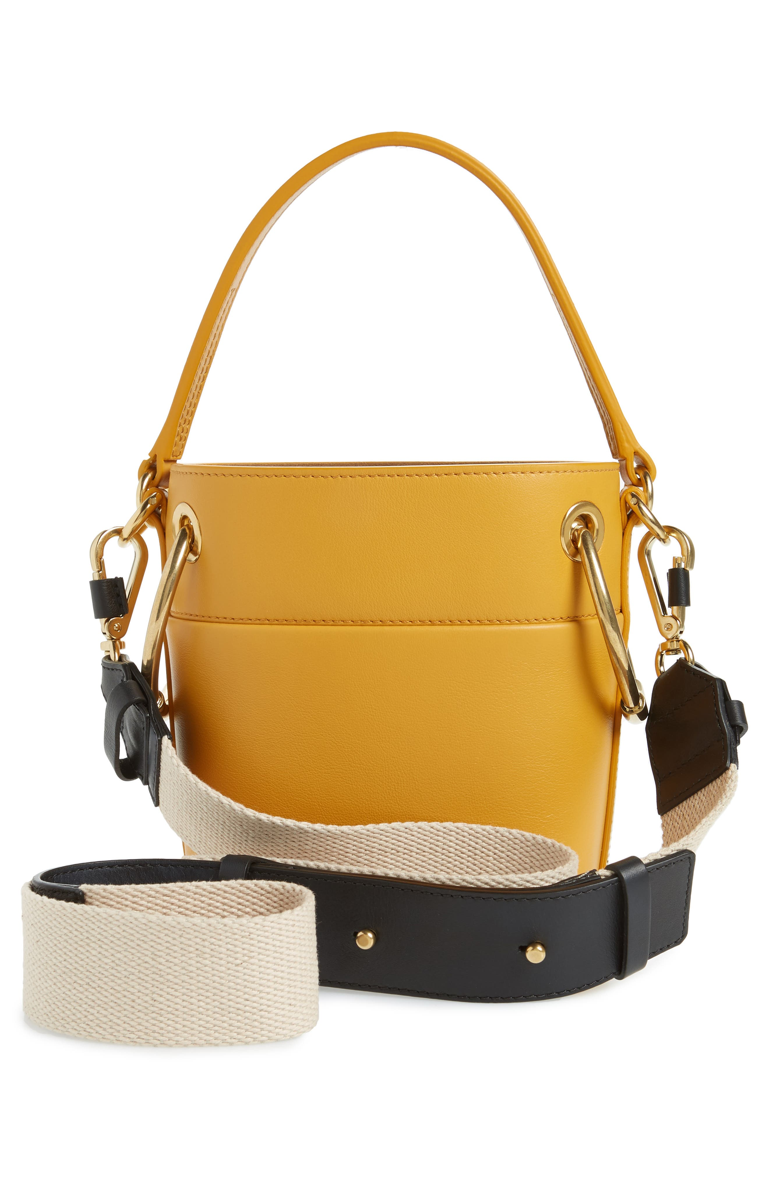 Roy Small Leather Bucket Bag,                             Alternate thumbnail 3, color,                             BURNING CAMEL