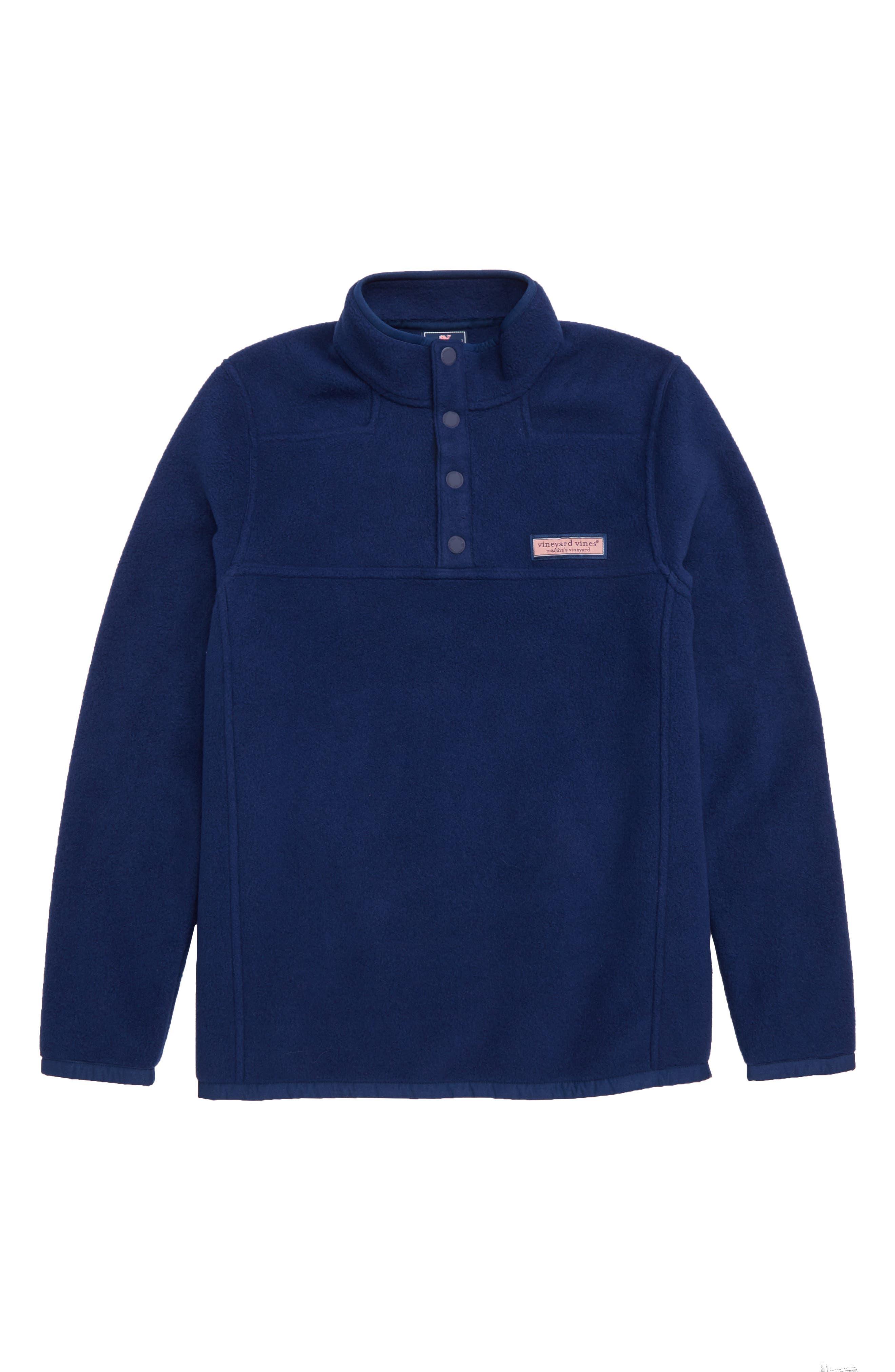 Shep Snap Placket Fleece Pullover,                         Main,                         color, DEEP BAY