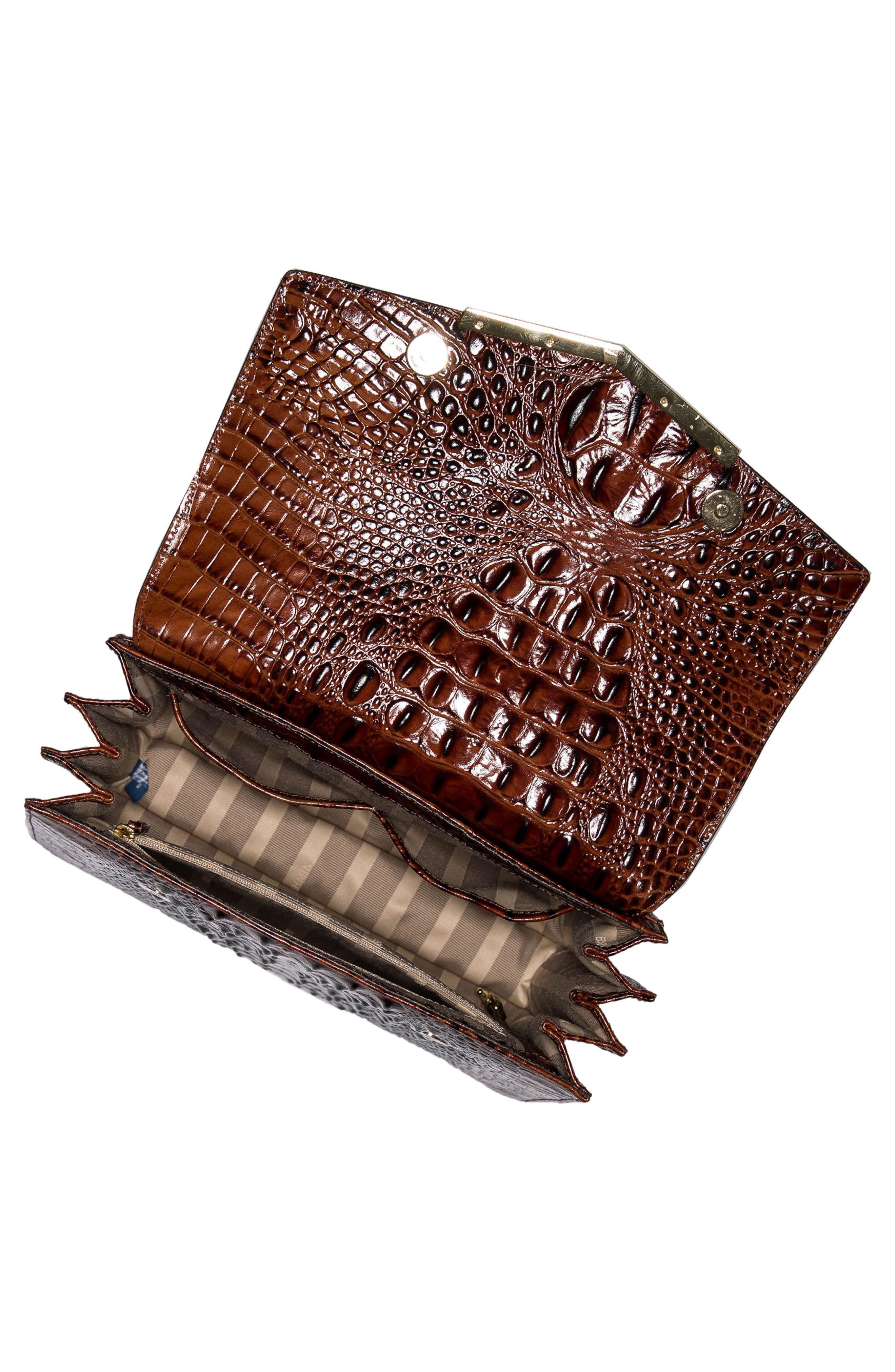 Gabriella Croc-Embossed Leather Satchel,                             Alternate thumbnail 3, color,