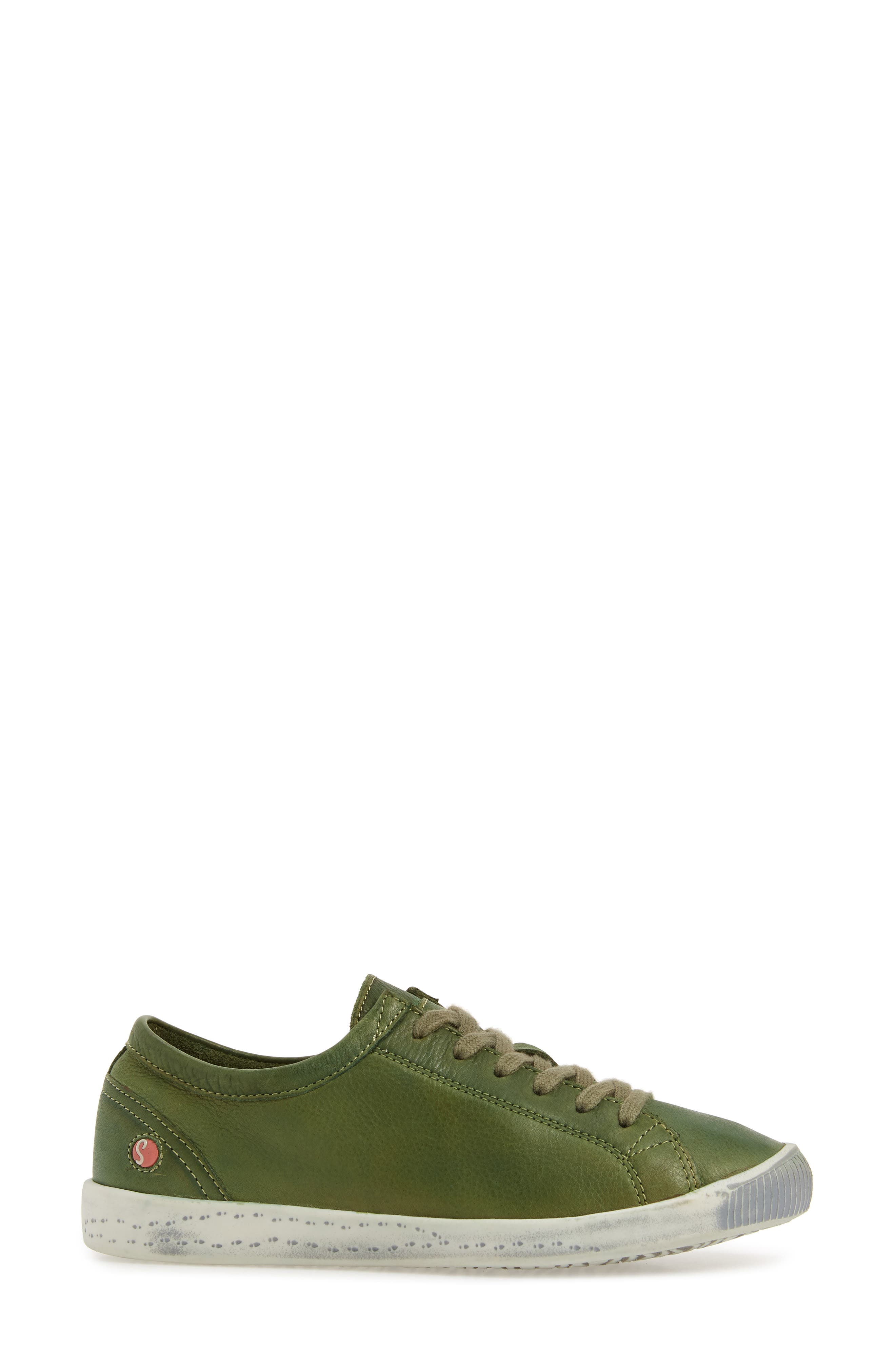 Isla Distressed Sneaker,                             Alternate thumbnail 3, color,                             FOREST GREEN WASHED LEATHER