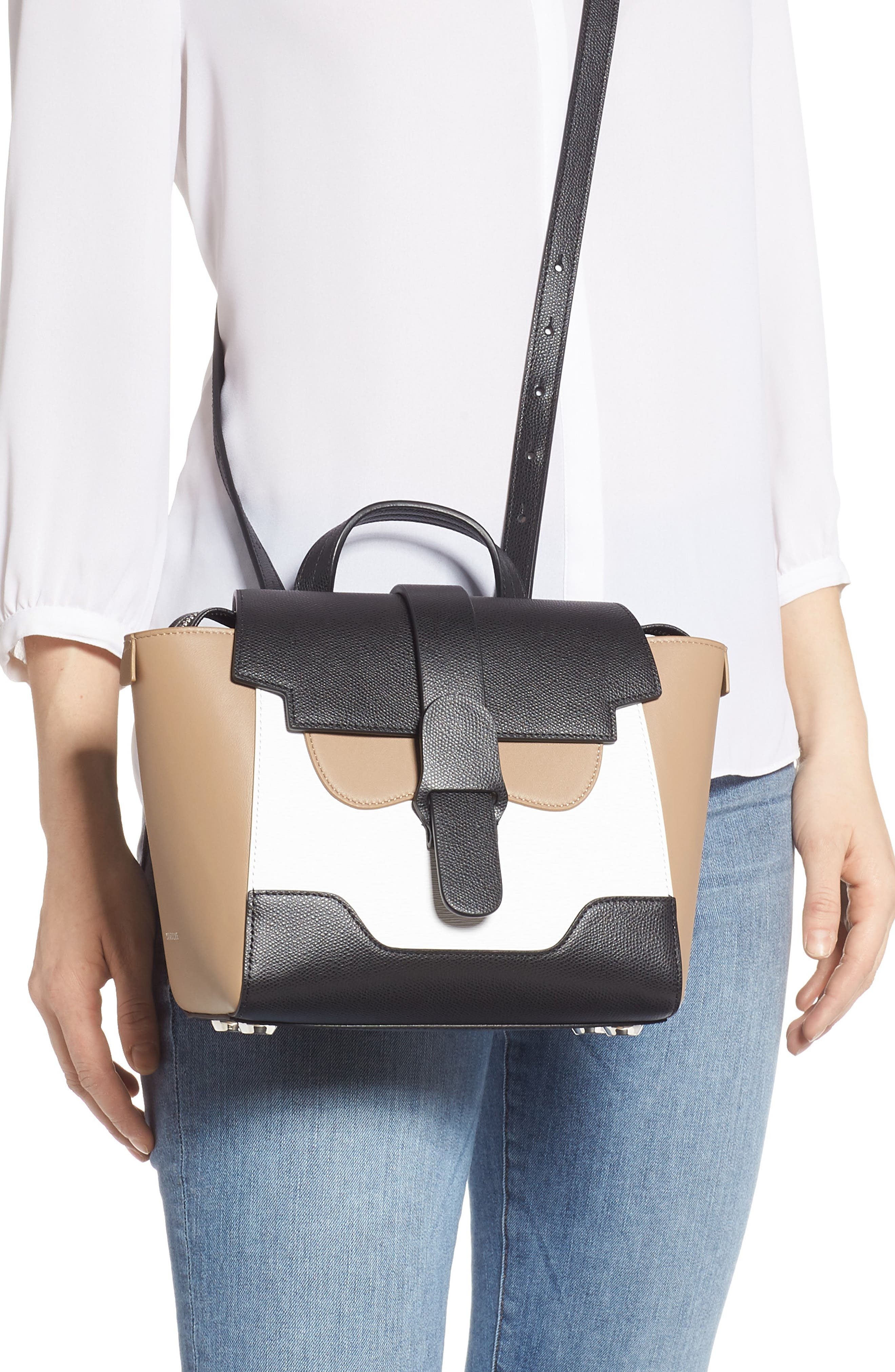 Mini Maestra Colorblock Leather Satchel,                             Alternate thumbnail 3, color,                             BLACK/ WHITE/ CHESTNUT
