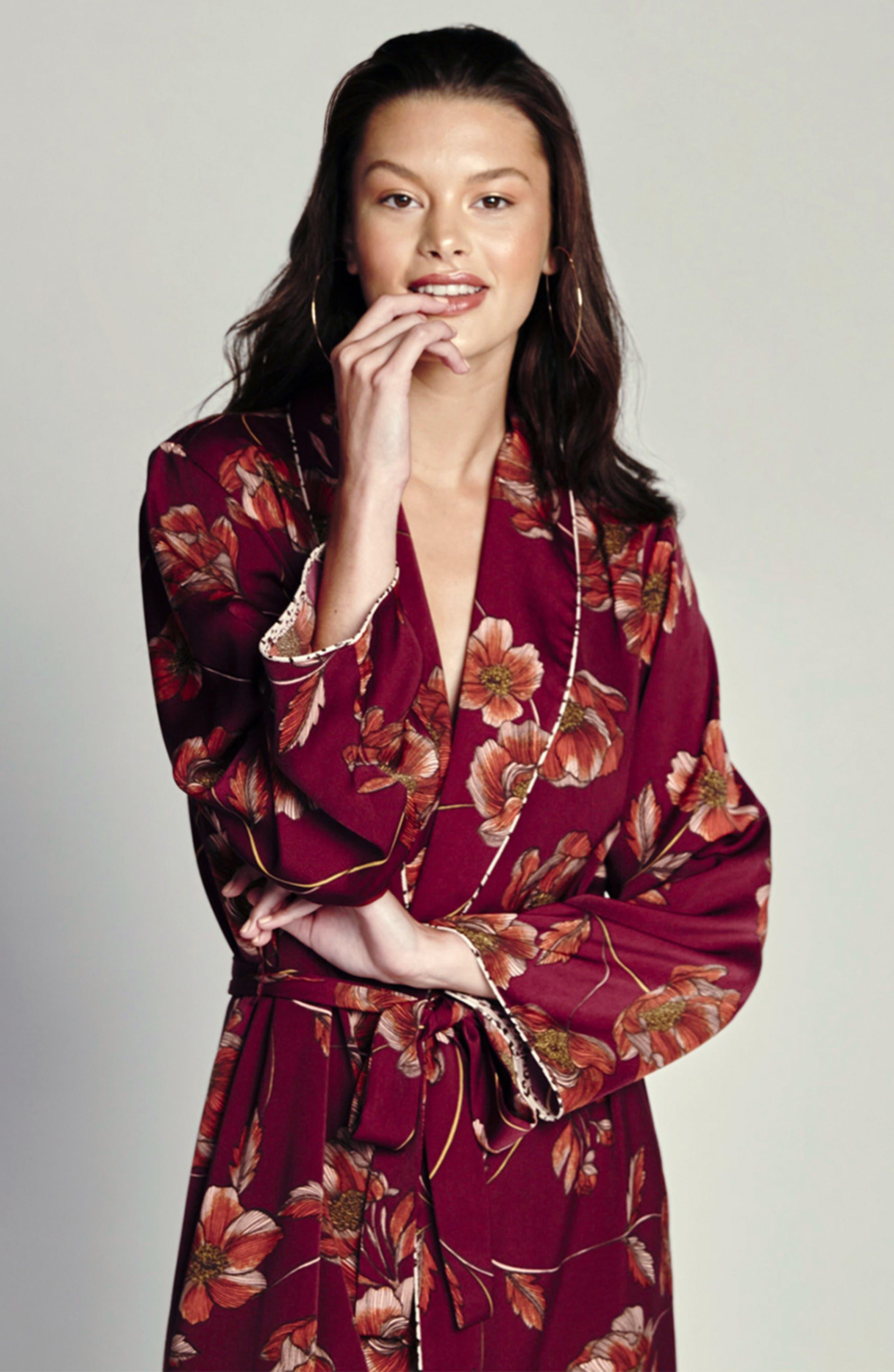 Austin Floral Robe,                             Alternate thumbnail 5, color,                             PLUM
