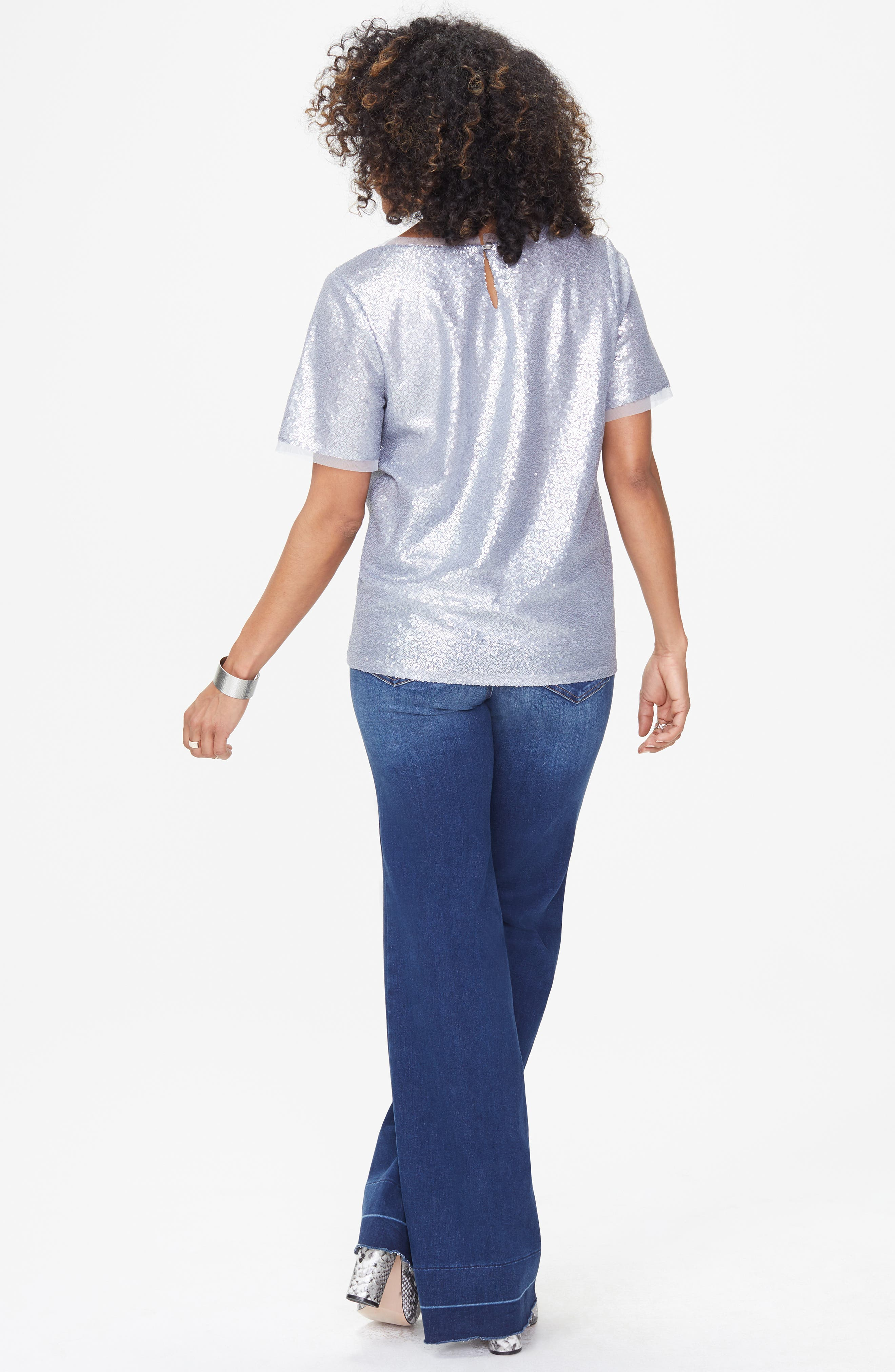 Sequin Woven Top,                             Alternate thumbnail 5, color,                             041