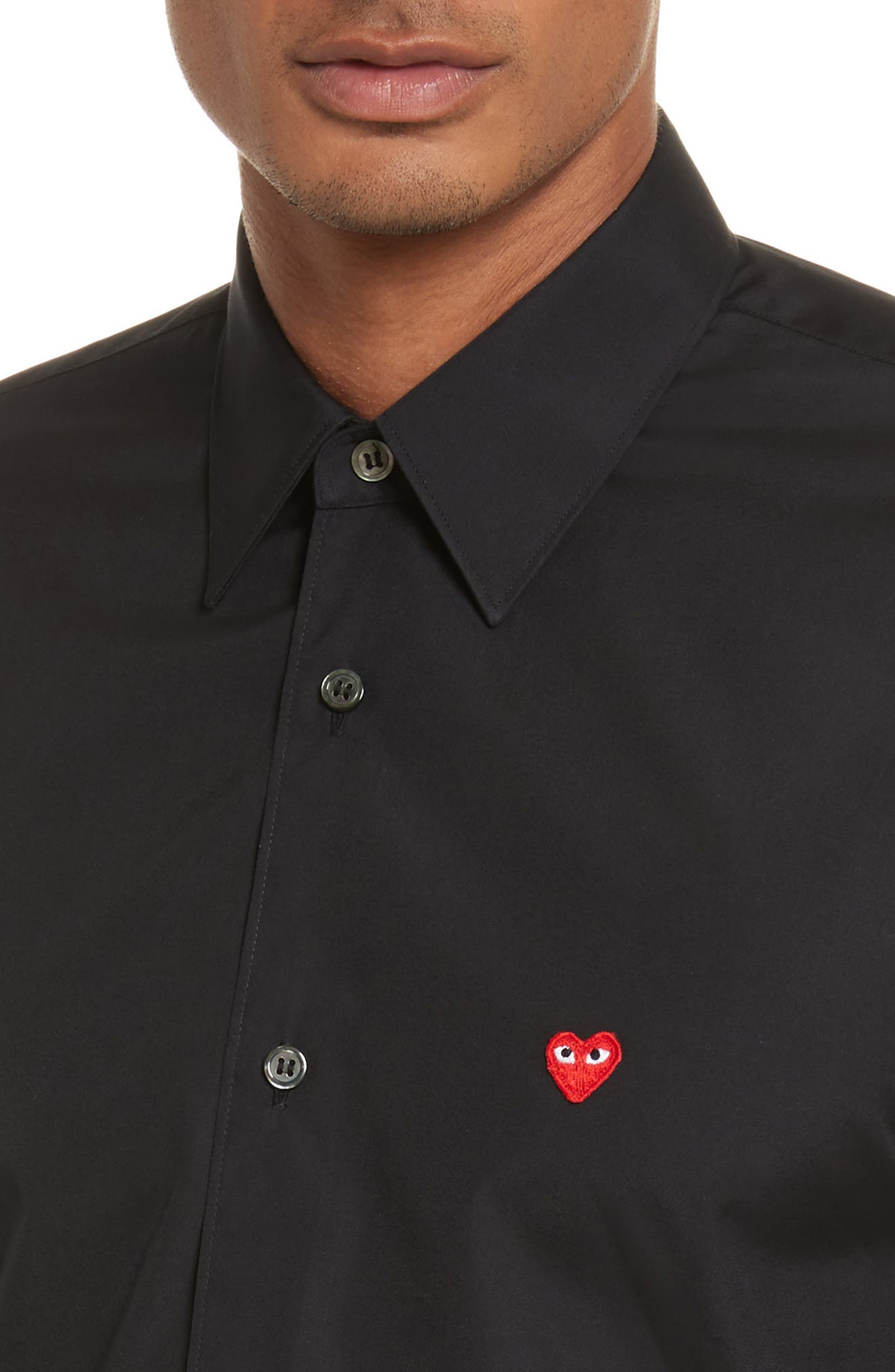 Trim Fit Oxford Shirt,                             Alternate thumbnail 5, color,                             BLACK