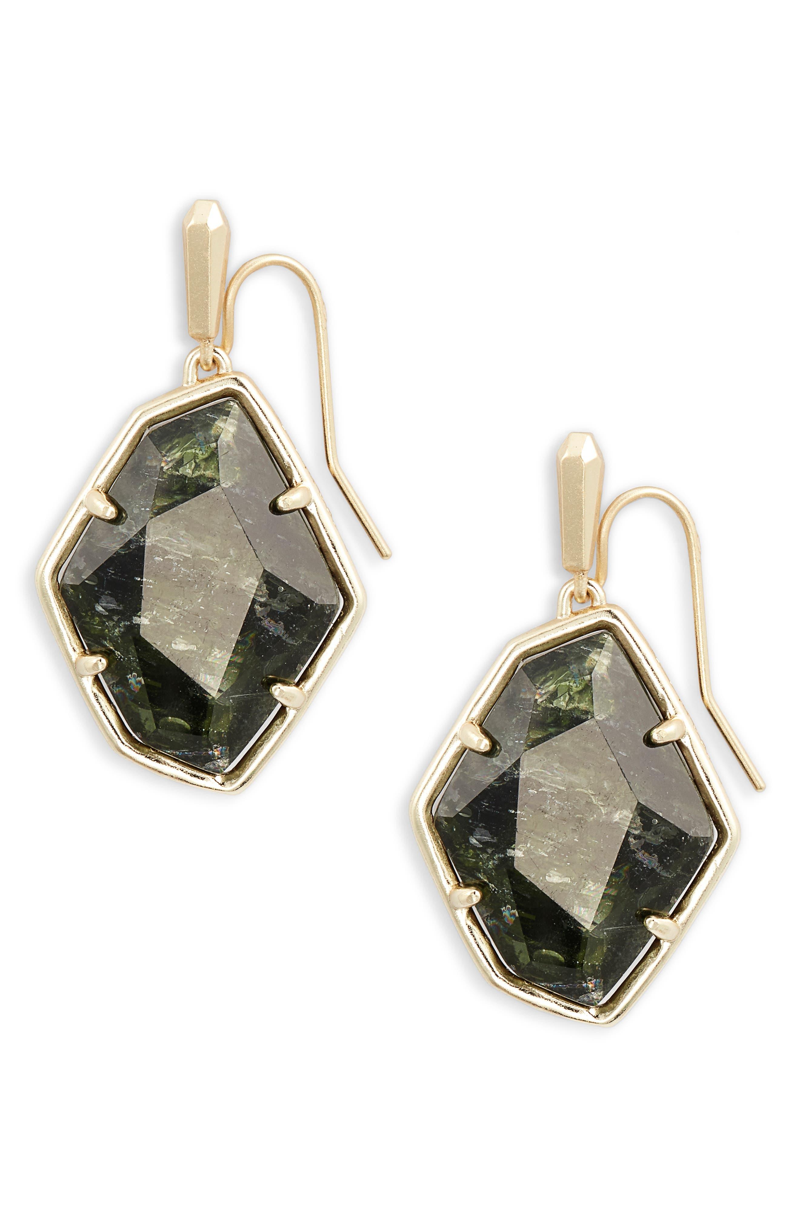 KENDRA SCOTT Dax Faceted Geometric Drop Earrings in Sage/ Gold