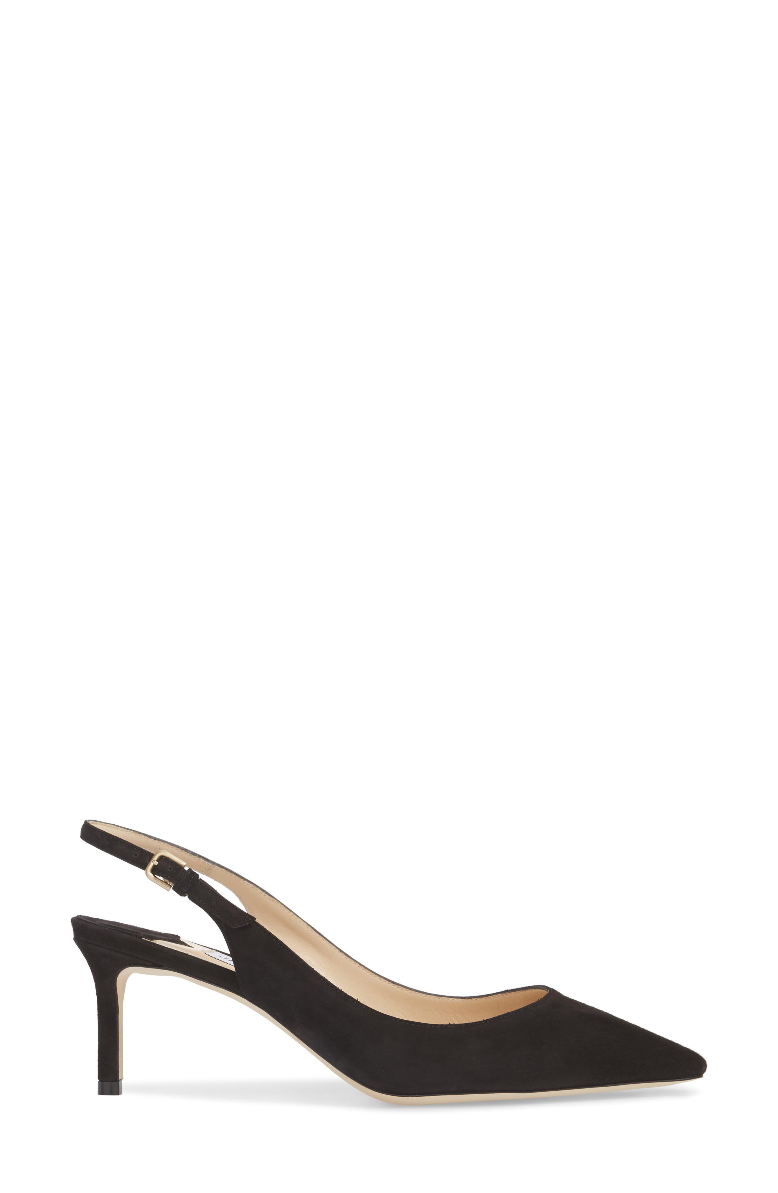 Erin Pointy Toe Slingback Pump,                             Alternate thumbnail 3, color,                             BLACK
