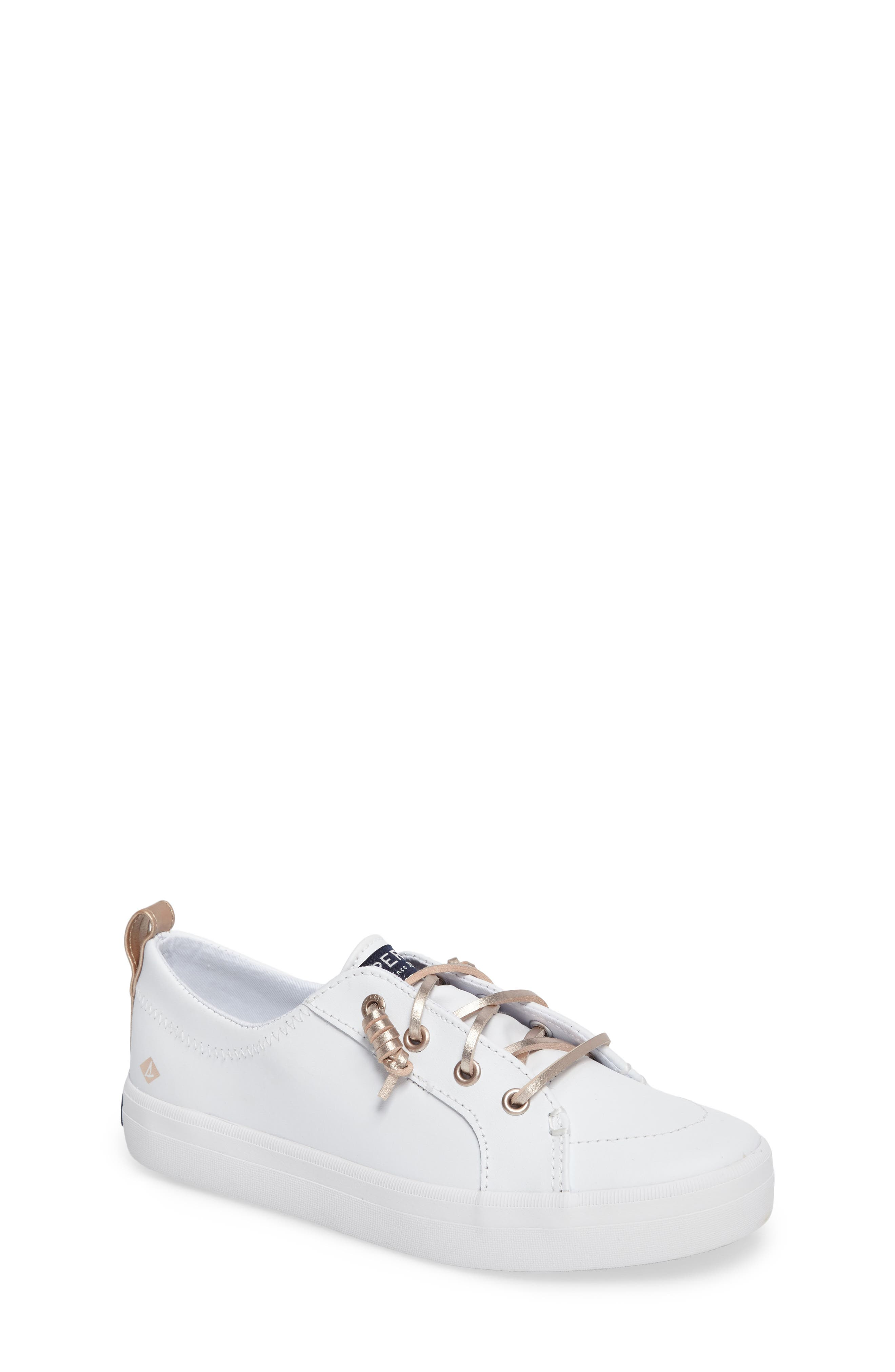 Sperry Crest Vibe Sneaker,                         Main,                         color, WHITE LEATHER