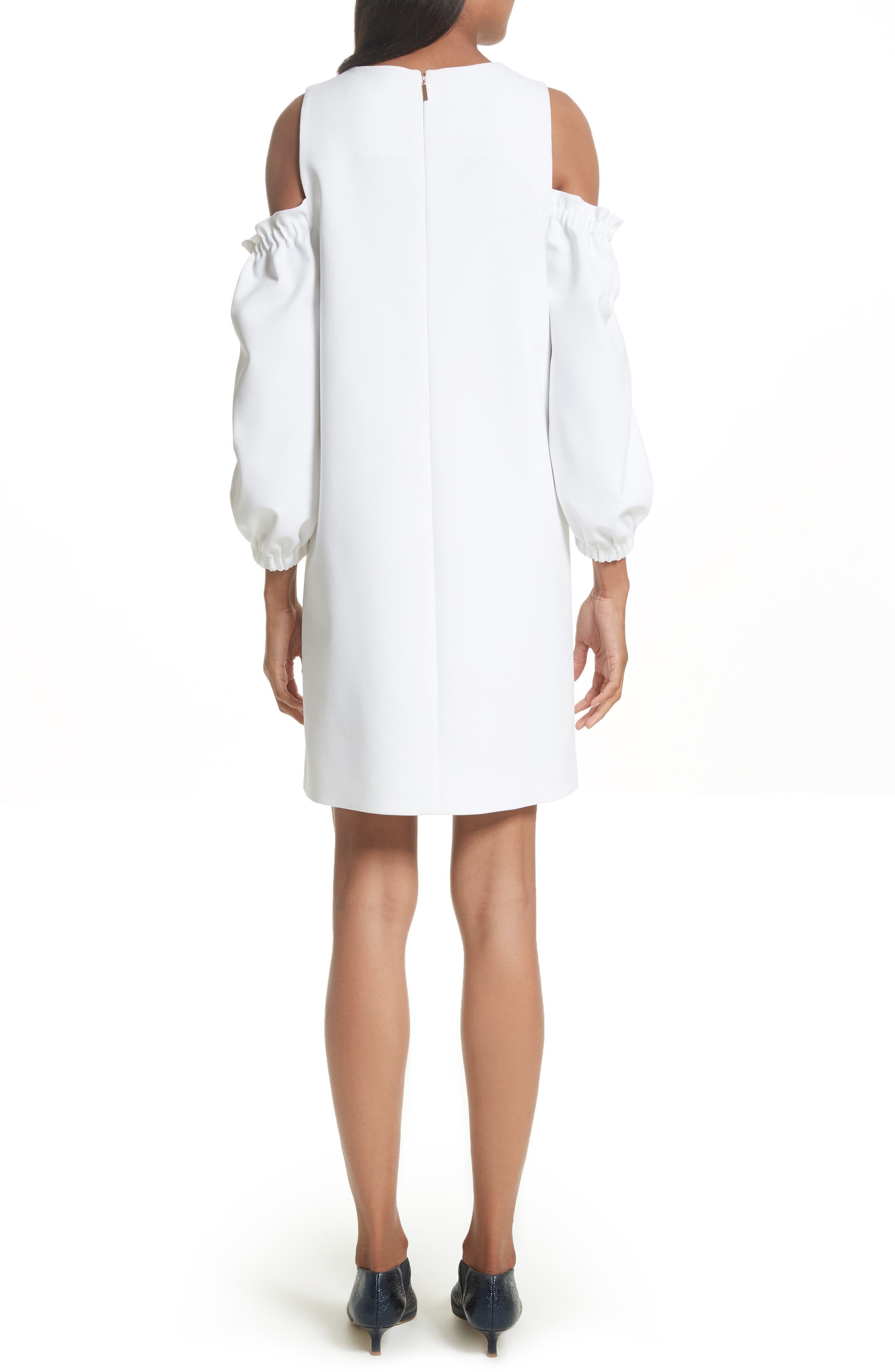 Crepe Cold Shoulder Shift Dress,                             Alternate thumbnail 2, color,                             100