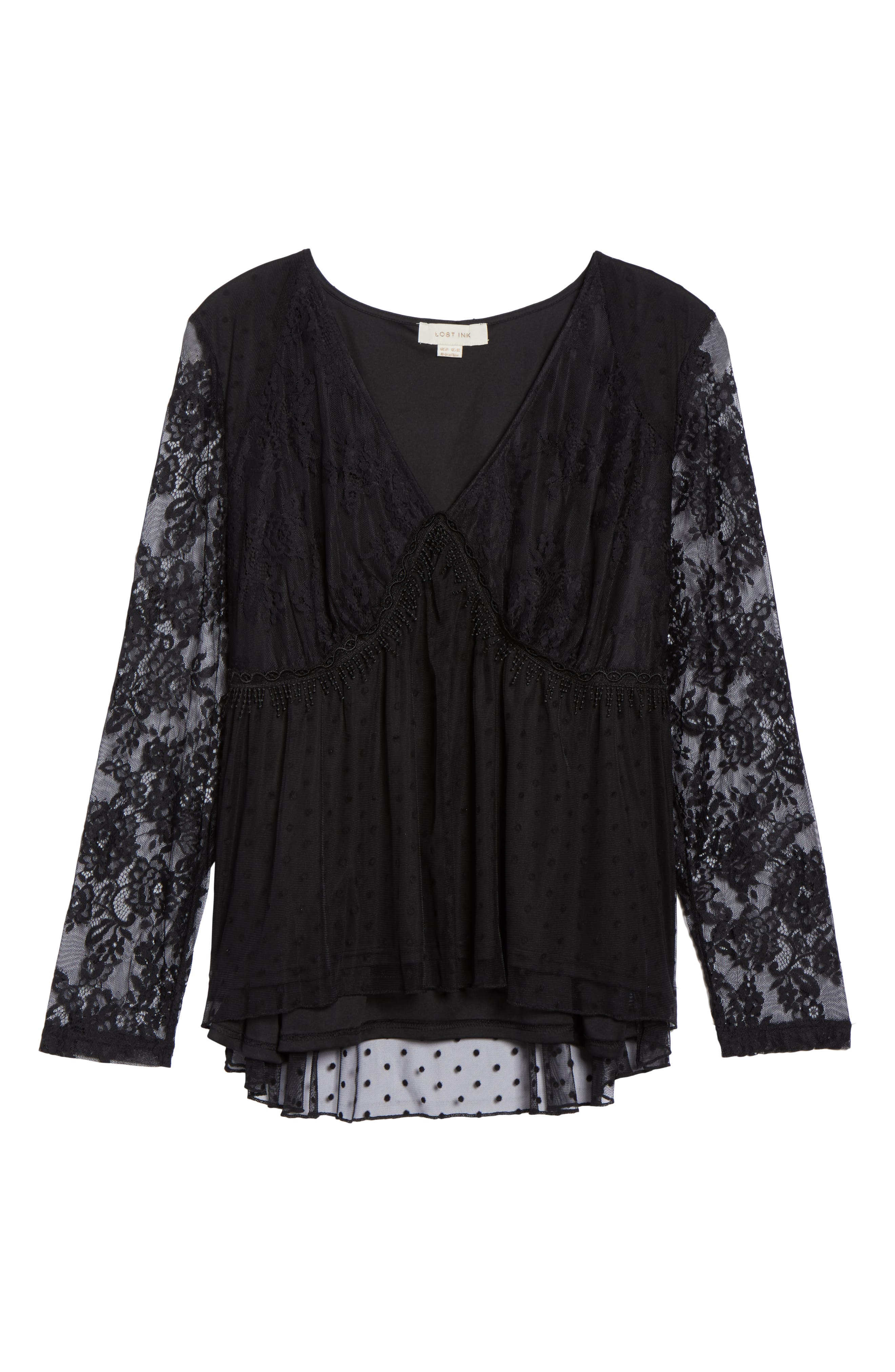 Lace Overlay Blouse,                             Alternate thumbnail 6, color,                             BLACK