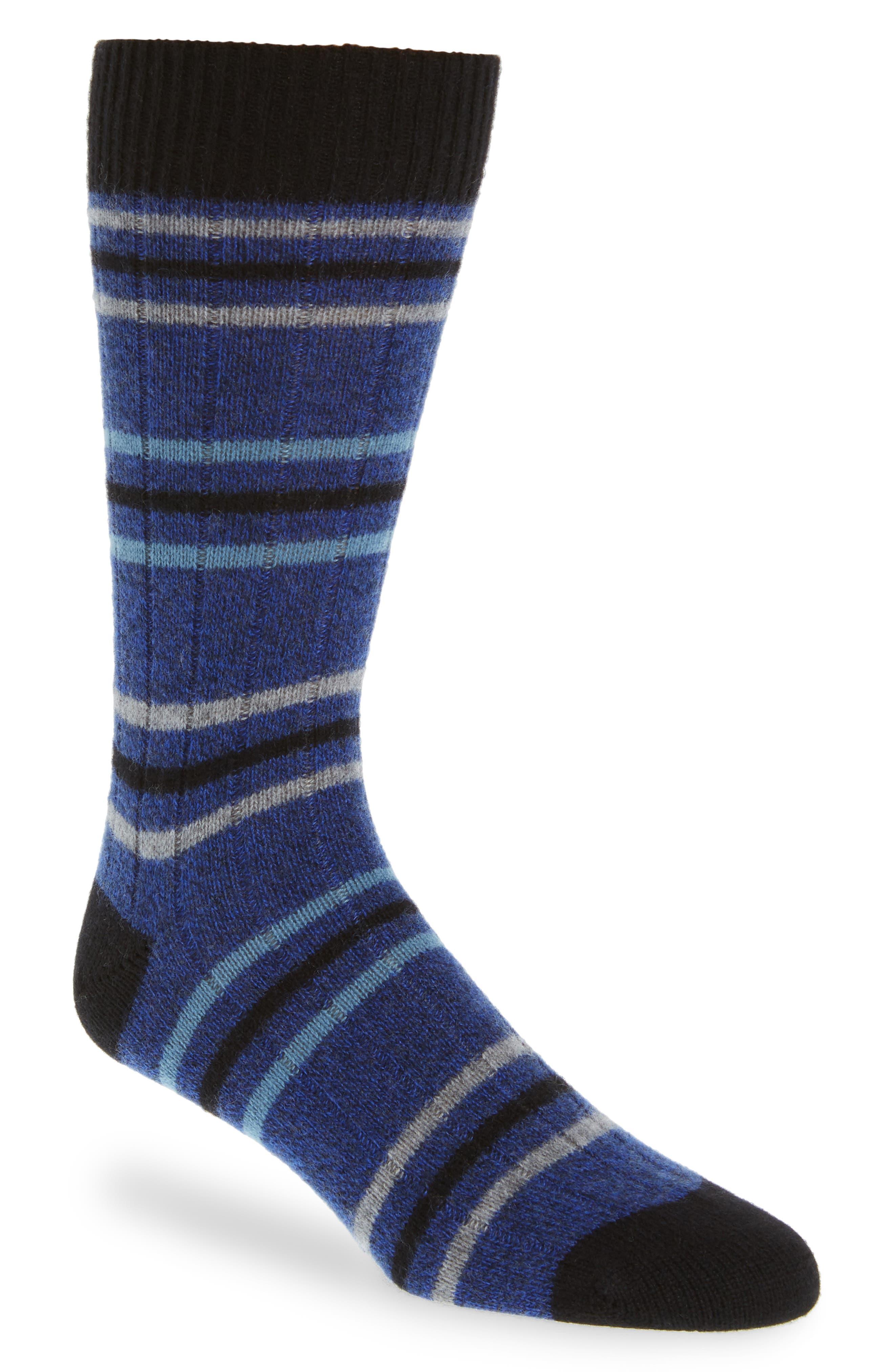Stripe Cashmere Blend Socks,                             Main thumbnail 1, color,                             ROYAL DENIM