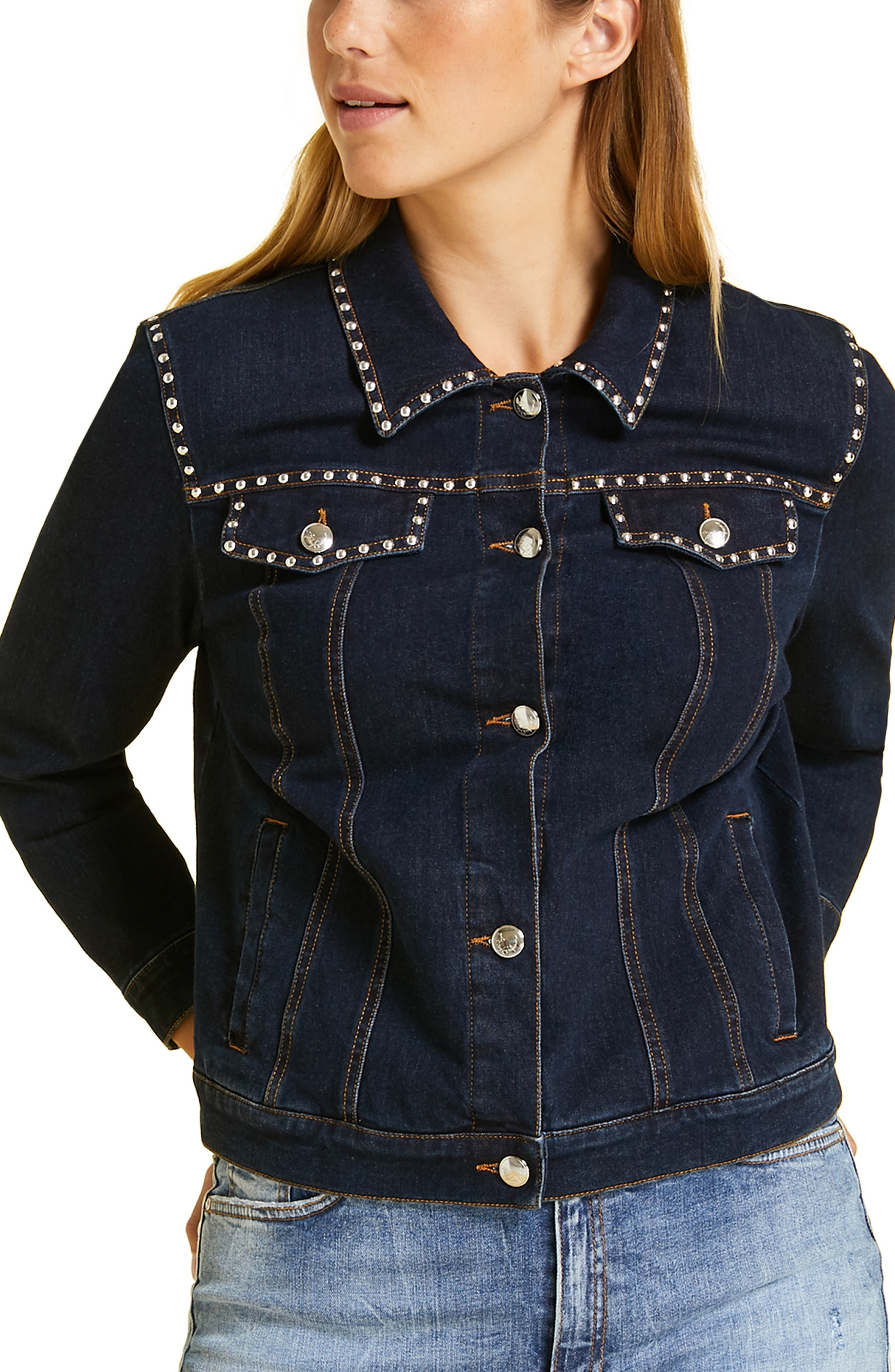 plus size women's marina rinaldi canguro studded denim jacket, size 12w - blue