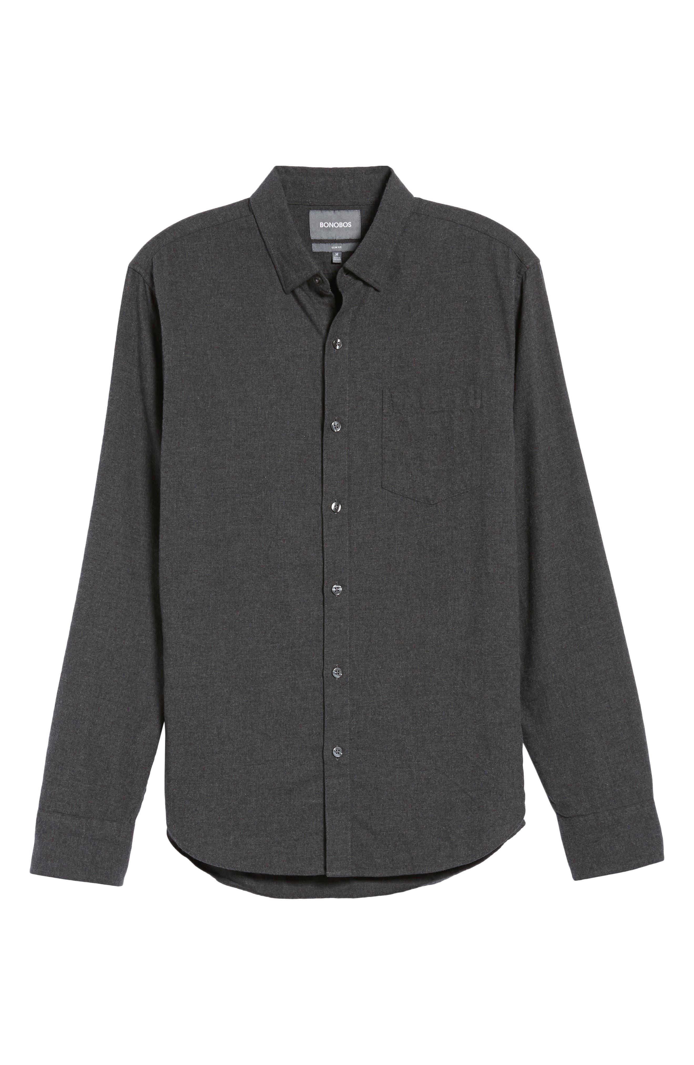 Slim Fit Brushed Twill Sport Shirt,                             Alternate thumbnail 6, color,                             020