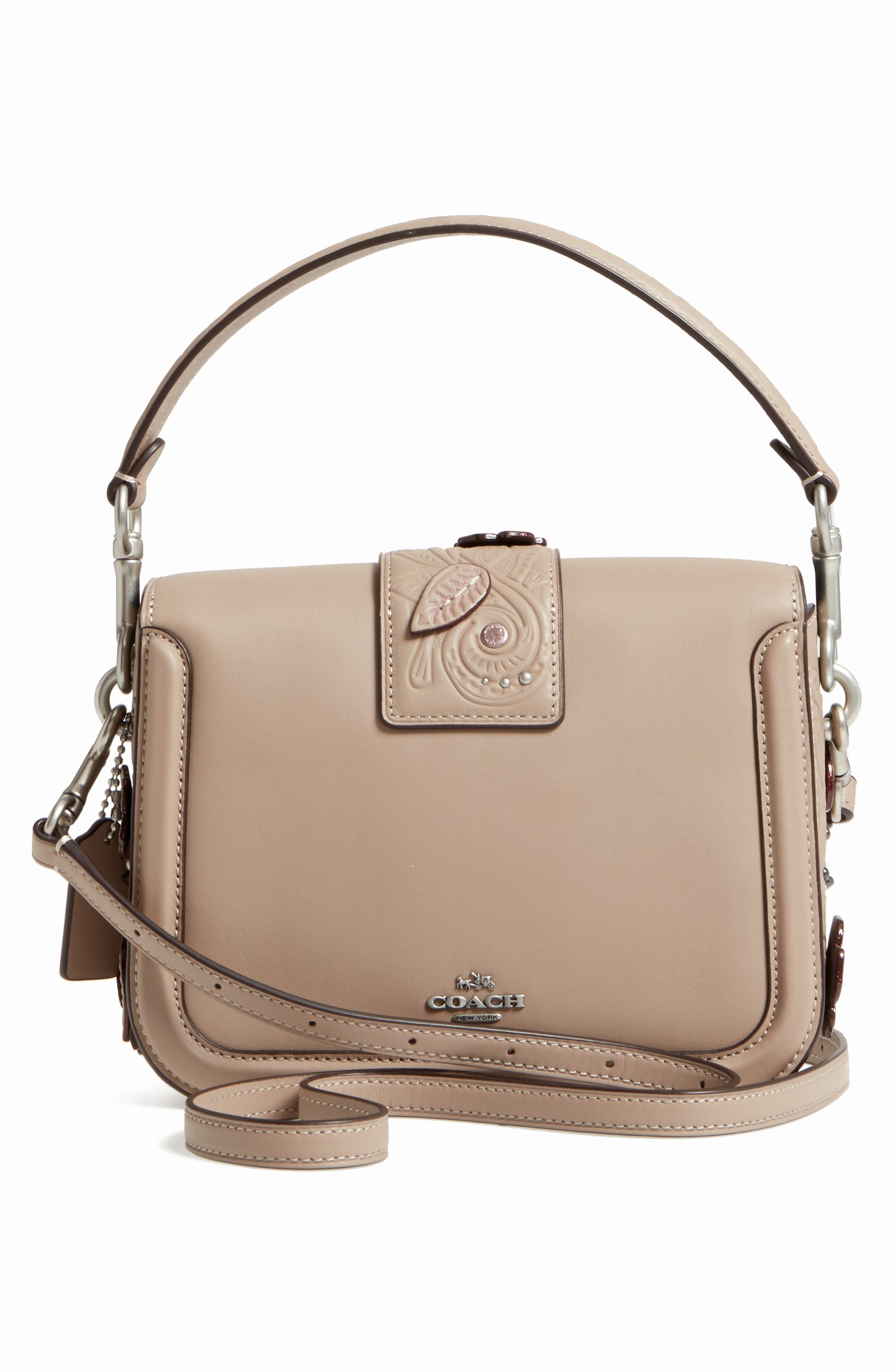 Page Tea Rose Tooled Calfskin Leather Top Handle Satchel,                             Alternate thumbnail 3, color,                             020