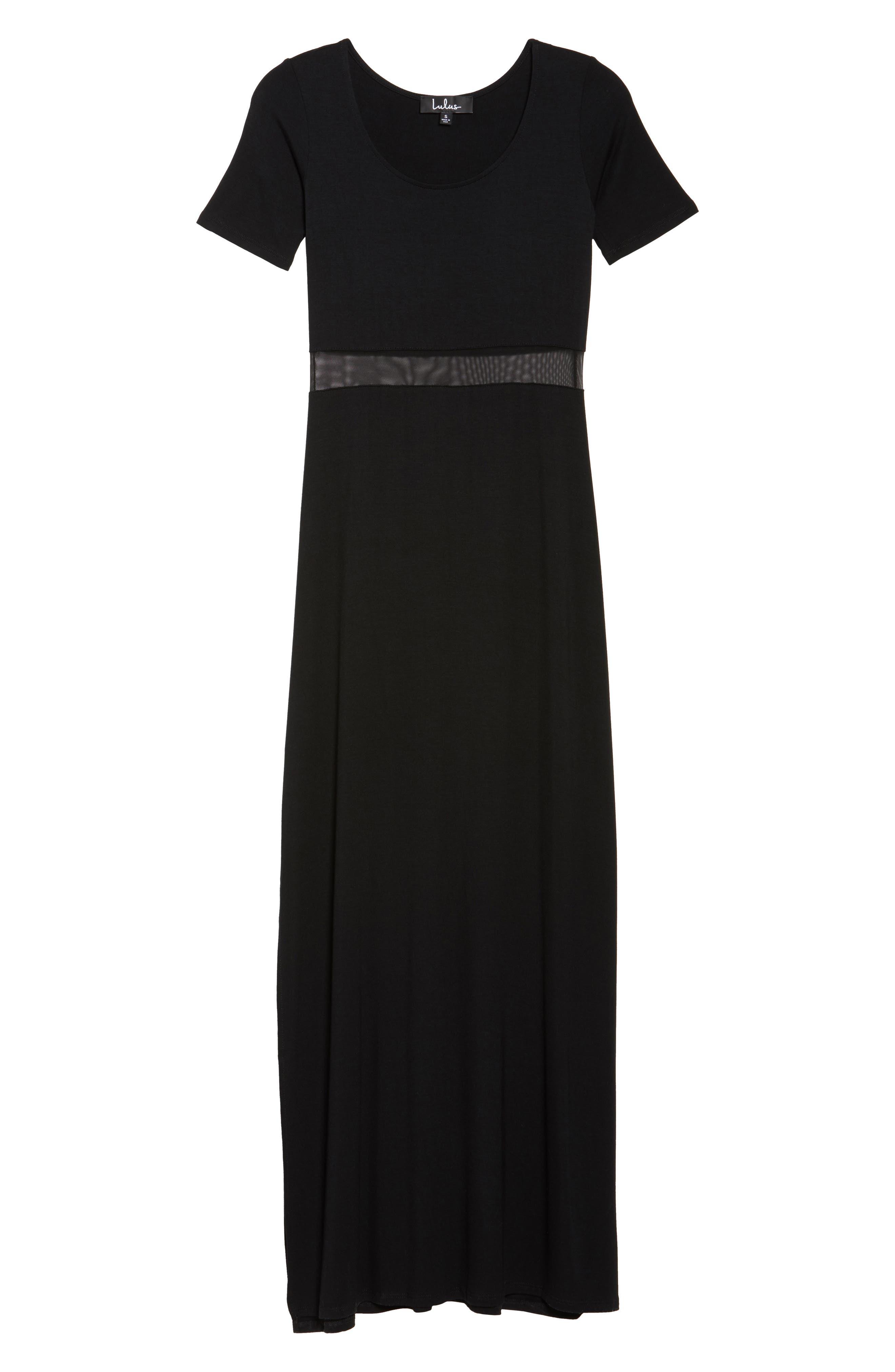 Mesh Inset Maxi Dress,                             Alternate thumbnail 6, color,                             010