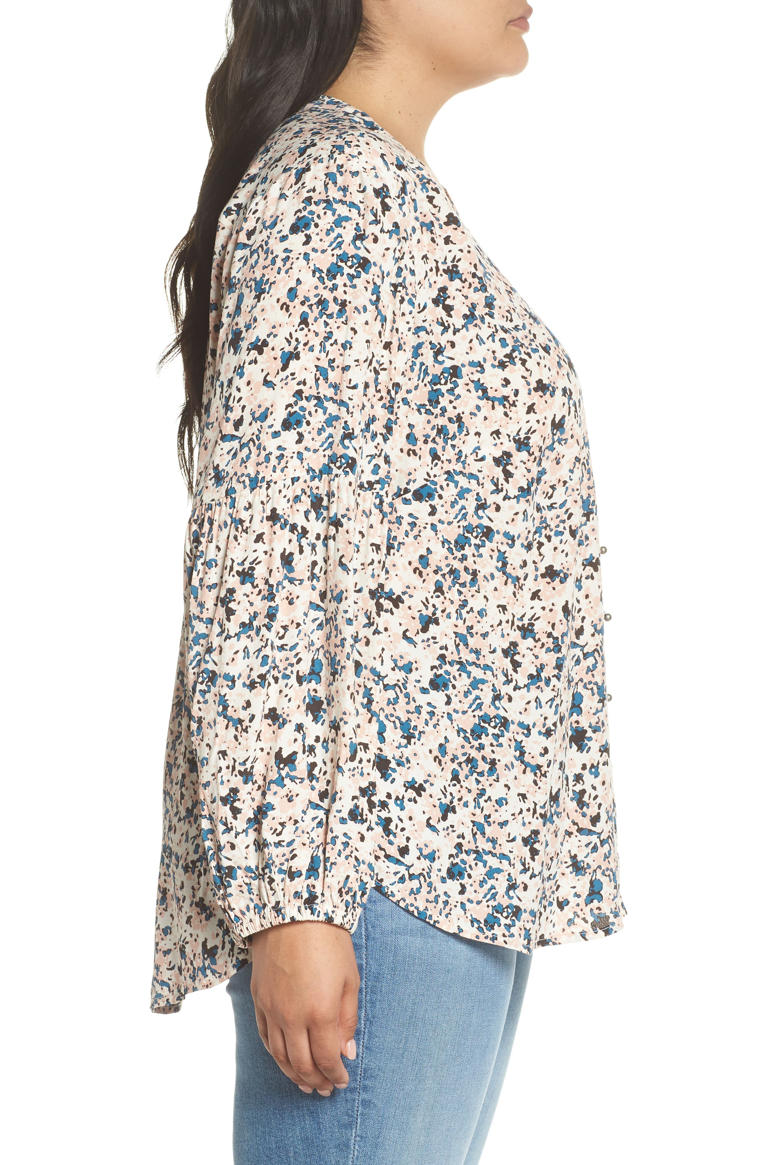 Button-Up Patterned Top,                             Alternate thumbnail 3, color,                             IVORY- PINK PIONEER FLORAL