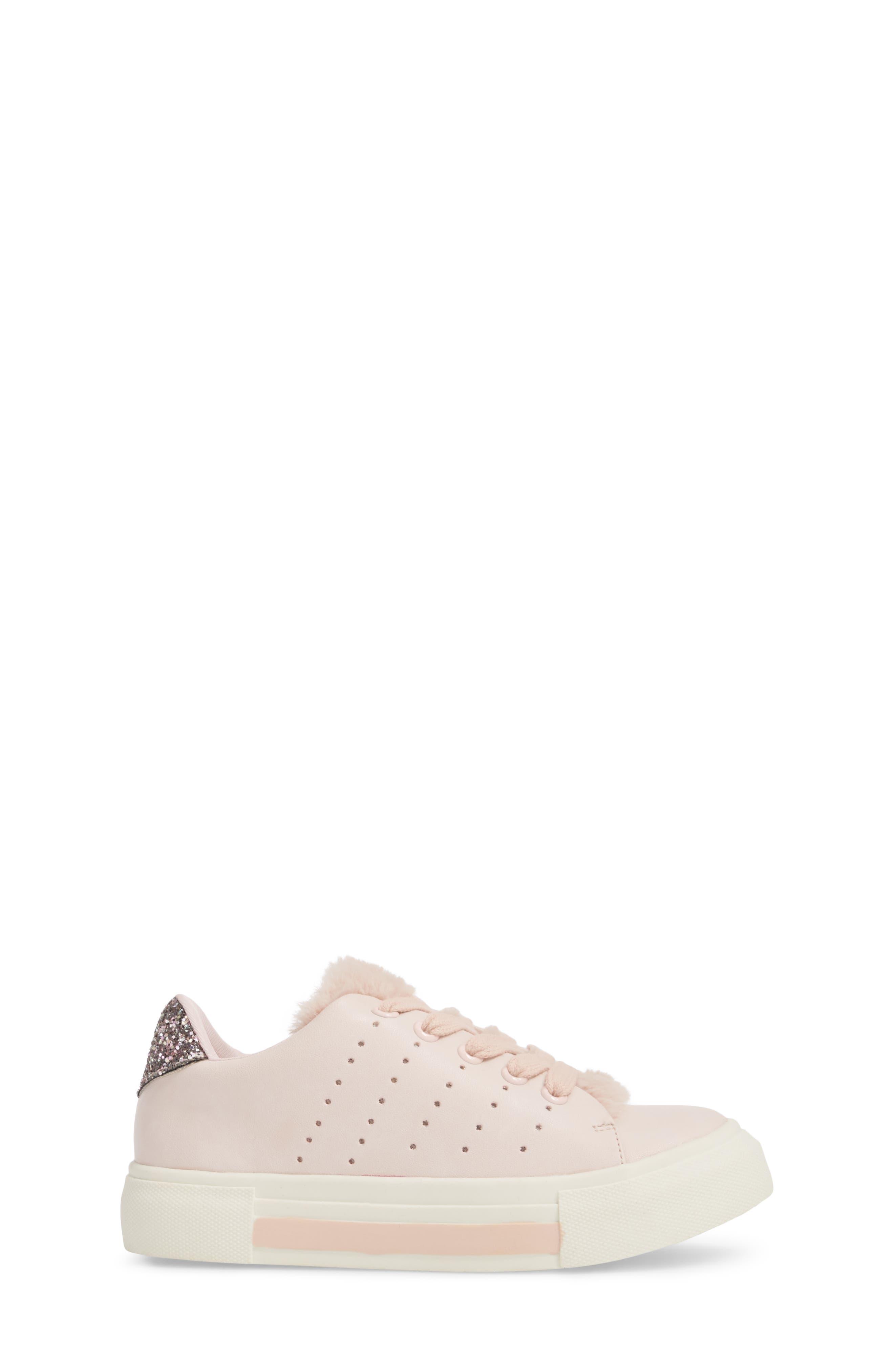 Cabel Glitter Faux Fur Sneaker,                             Alternate thumbnail 3, color,                             PINK