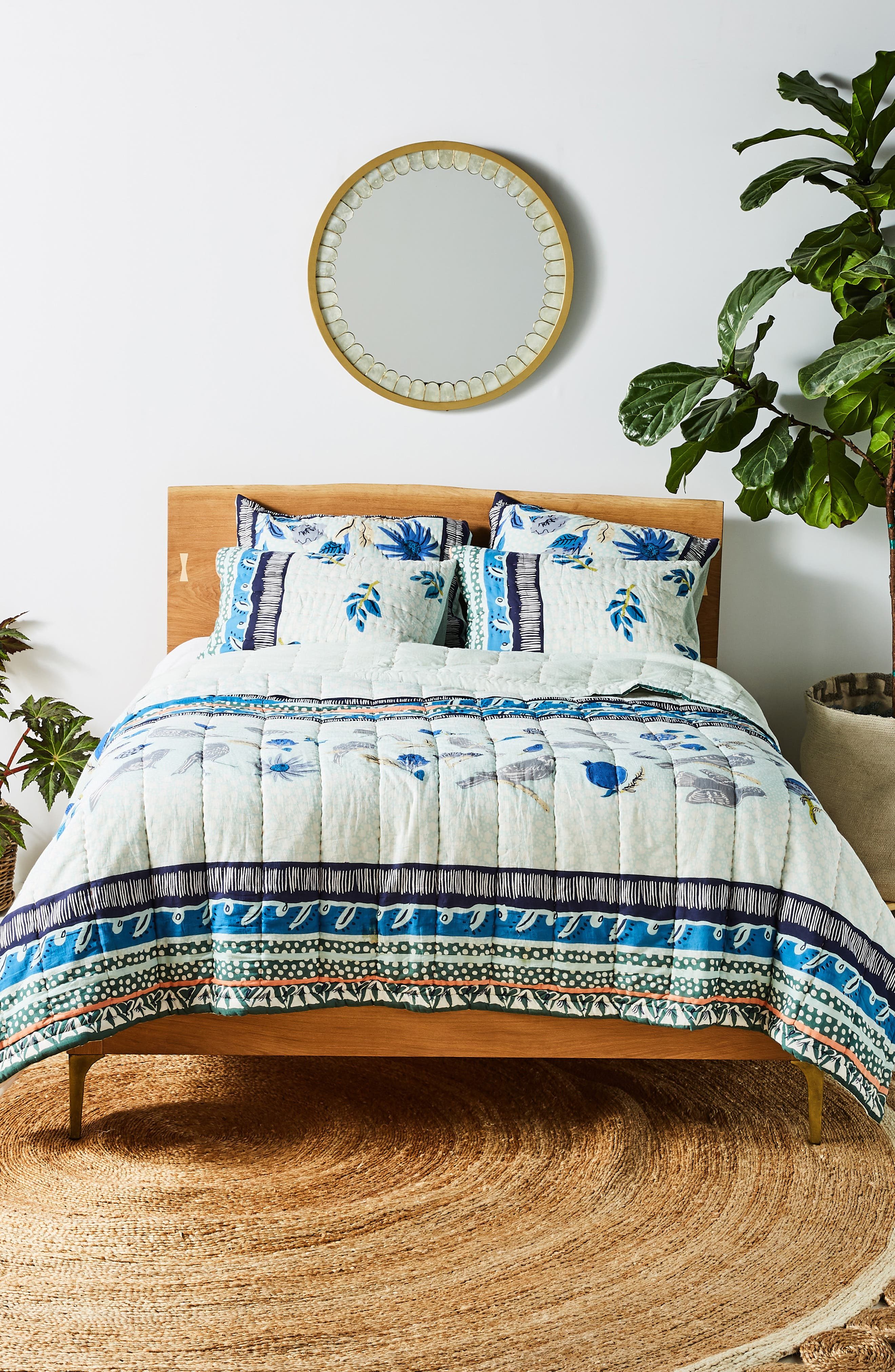 ANTHROPOLOGIE,                             Kirby Quilt,                             Alternate thumbnail 5, color,                             SKY