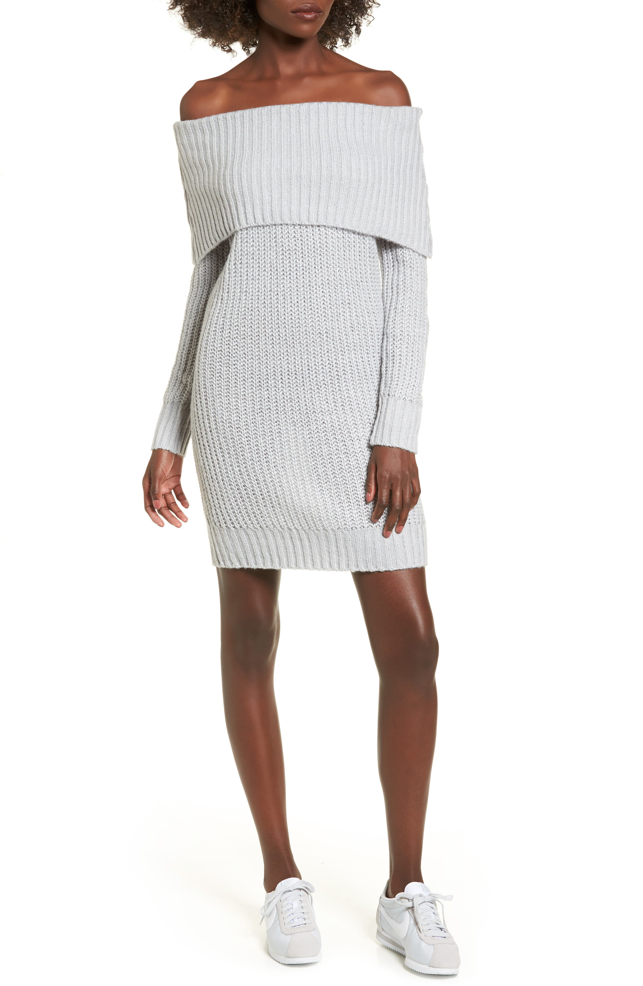 Foldover Off the Shoulder Sweater Dress,                             Main thumbnail 2, color,