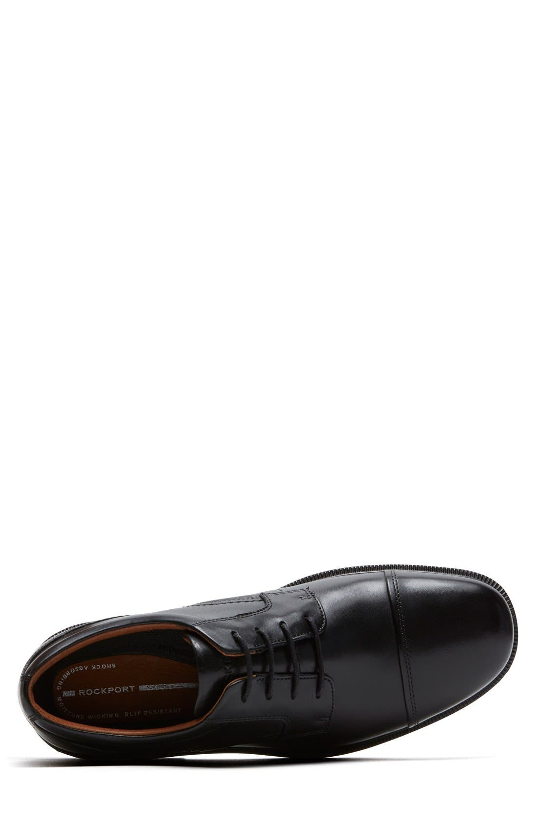 'DresSports Luxe' Cap Toe Derby,                             Alternate thumbnail 4, color,                             BLACK