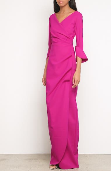 Ruched Bell Sleeve Evening Dress, video thumbnail