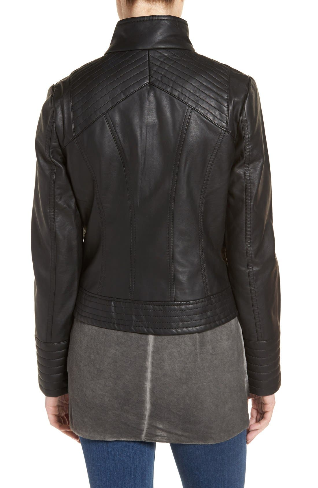 Quilted Faux Leather Jacket,                             Alternate thumbnail 2, color,                             001