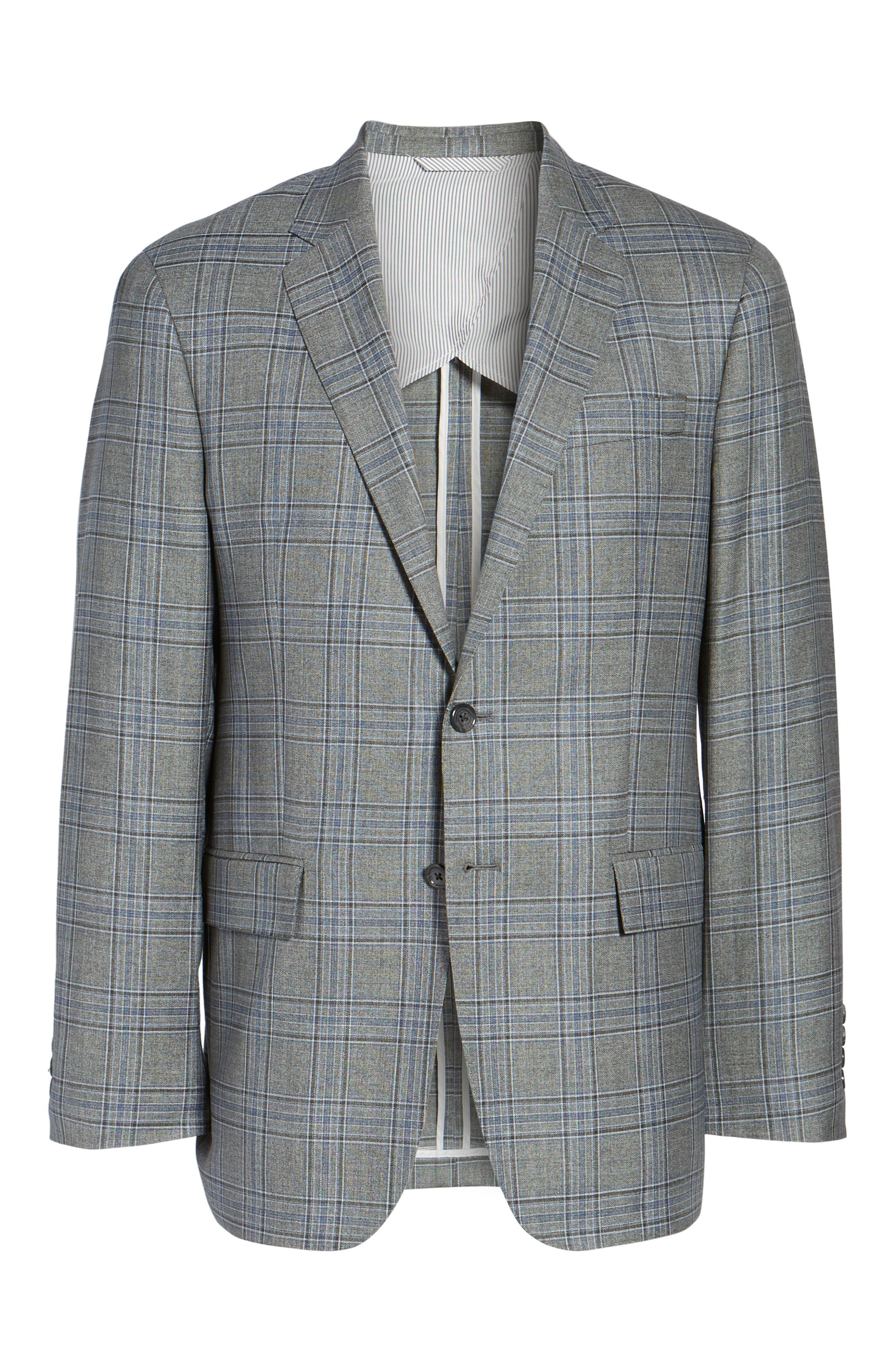 Trim Fit Plaid Wool Sport Coat,                             Alternate thumbnail 5, color,                             030