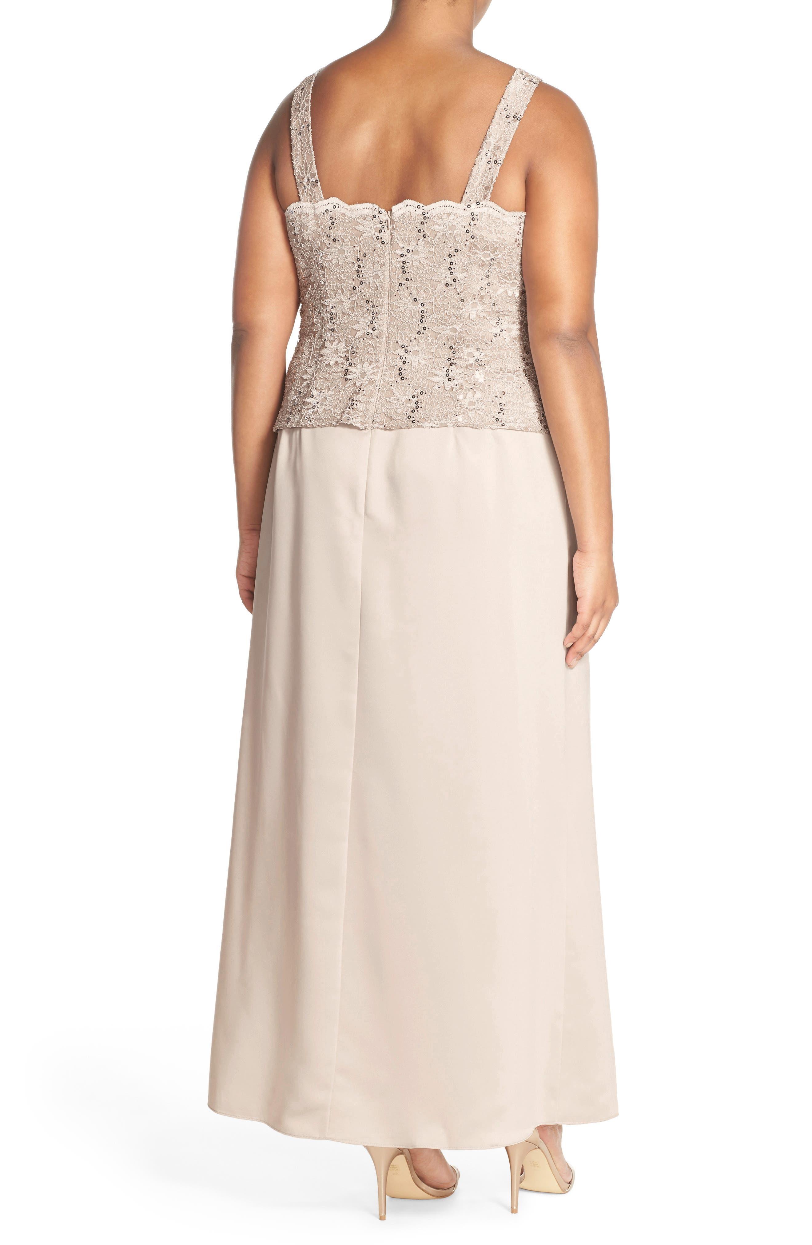 Alex Evening A-Line Gown & Lace Jacket,                             Alternate thumbnail 3, color,