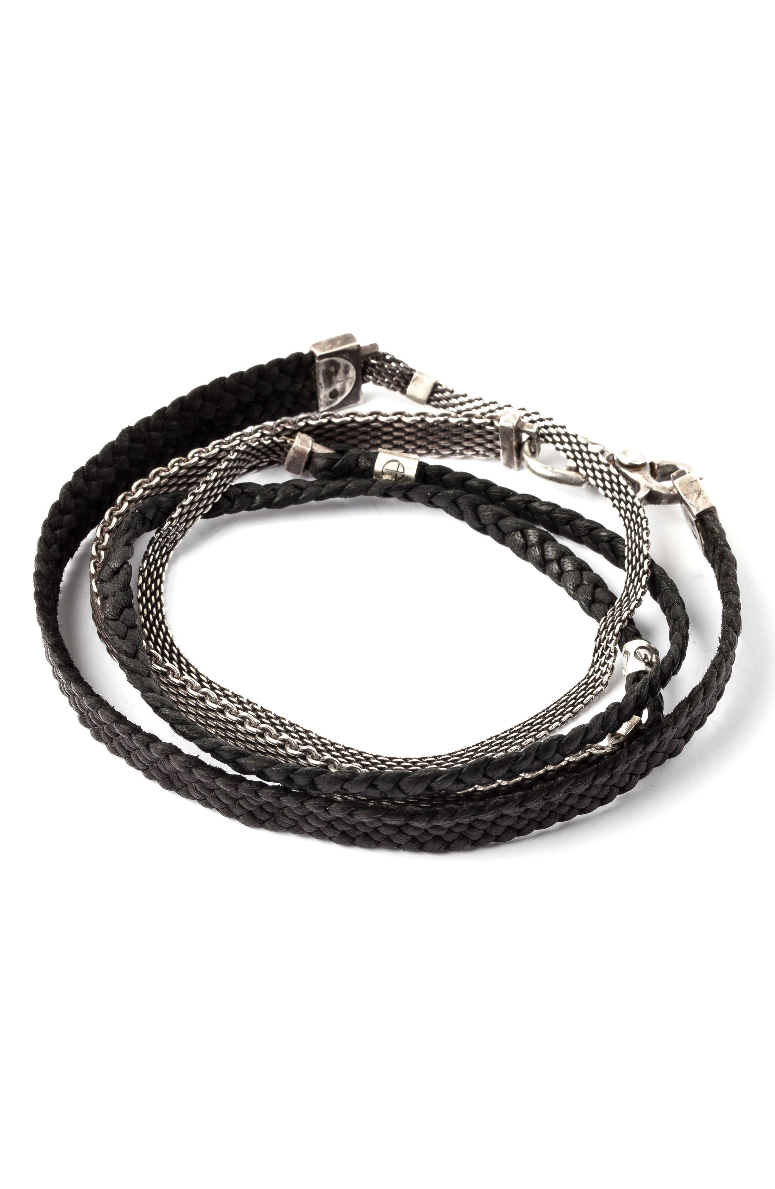 Mesh & Leather Wrap Bracelet,                         Main,                         color, SILVER/BLACK