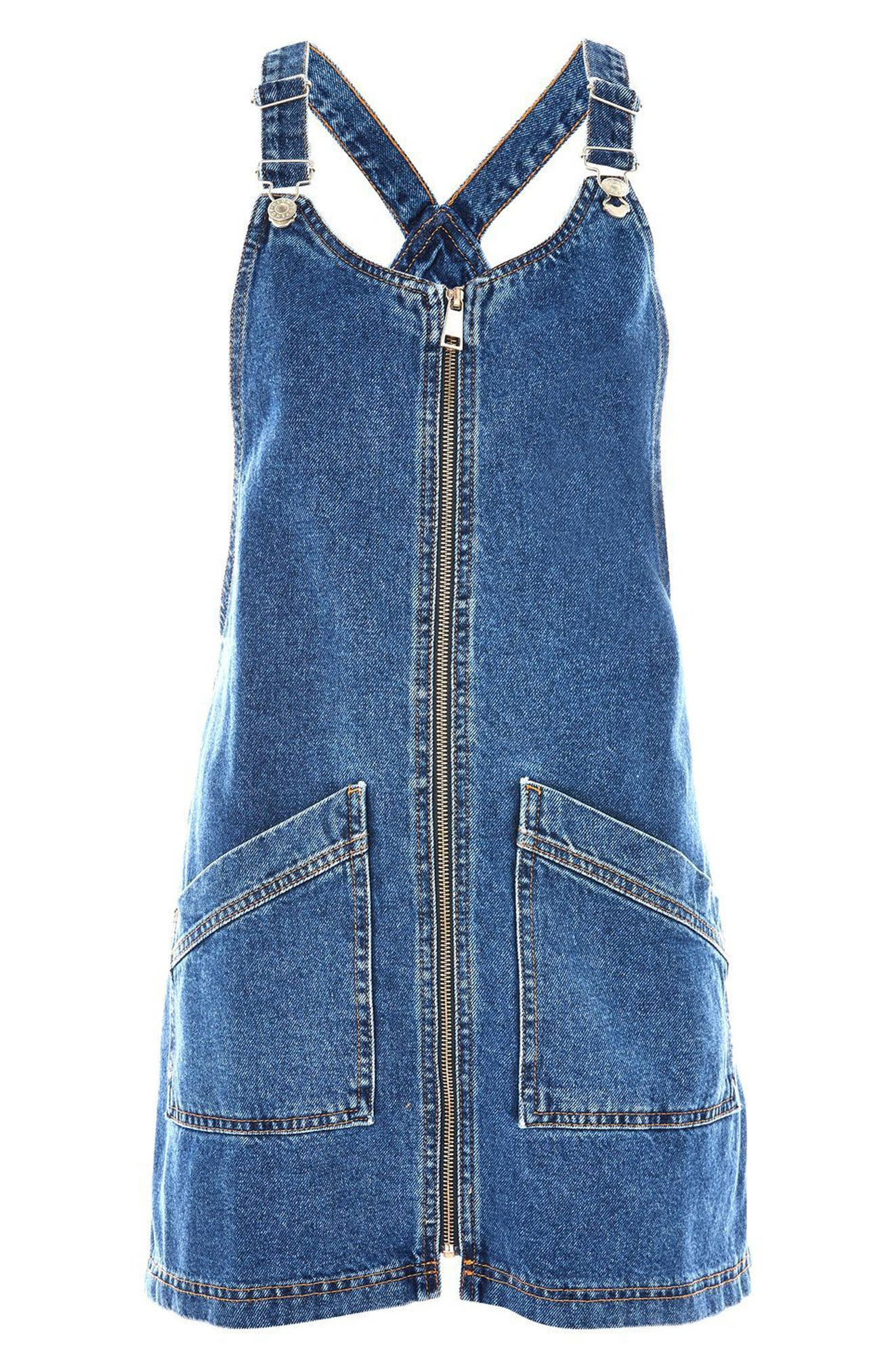 Denim Pinafore Dress,                             Alternate thumbnail 8, color,