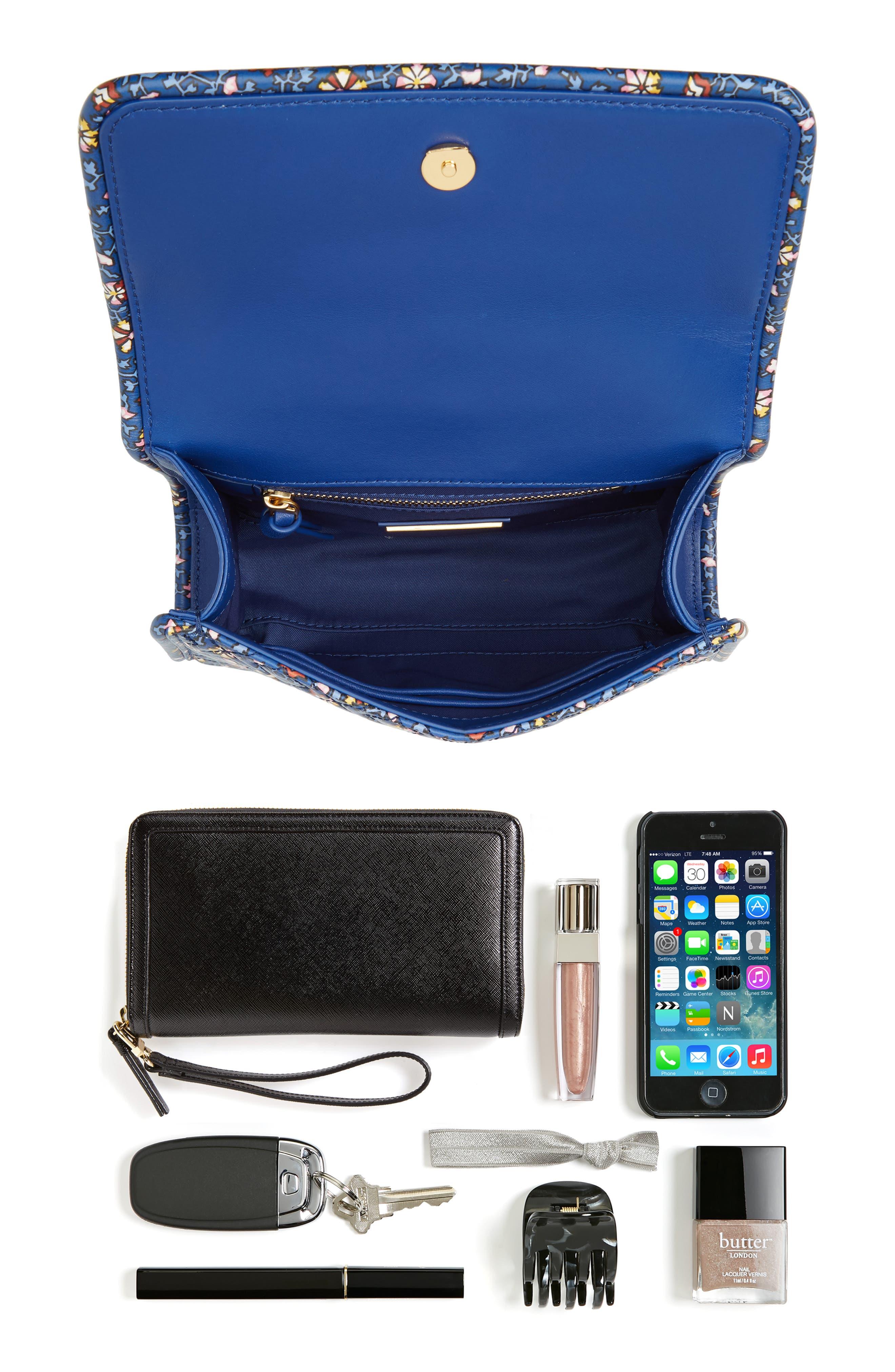 Fleming Print Leather Convertible Shoulder Bag,                             Alternate thumbnail 7, color,                             BLUE WILD PANSY