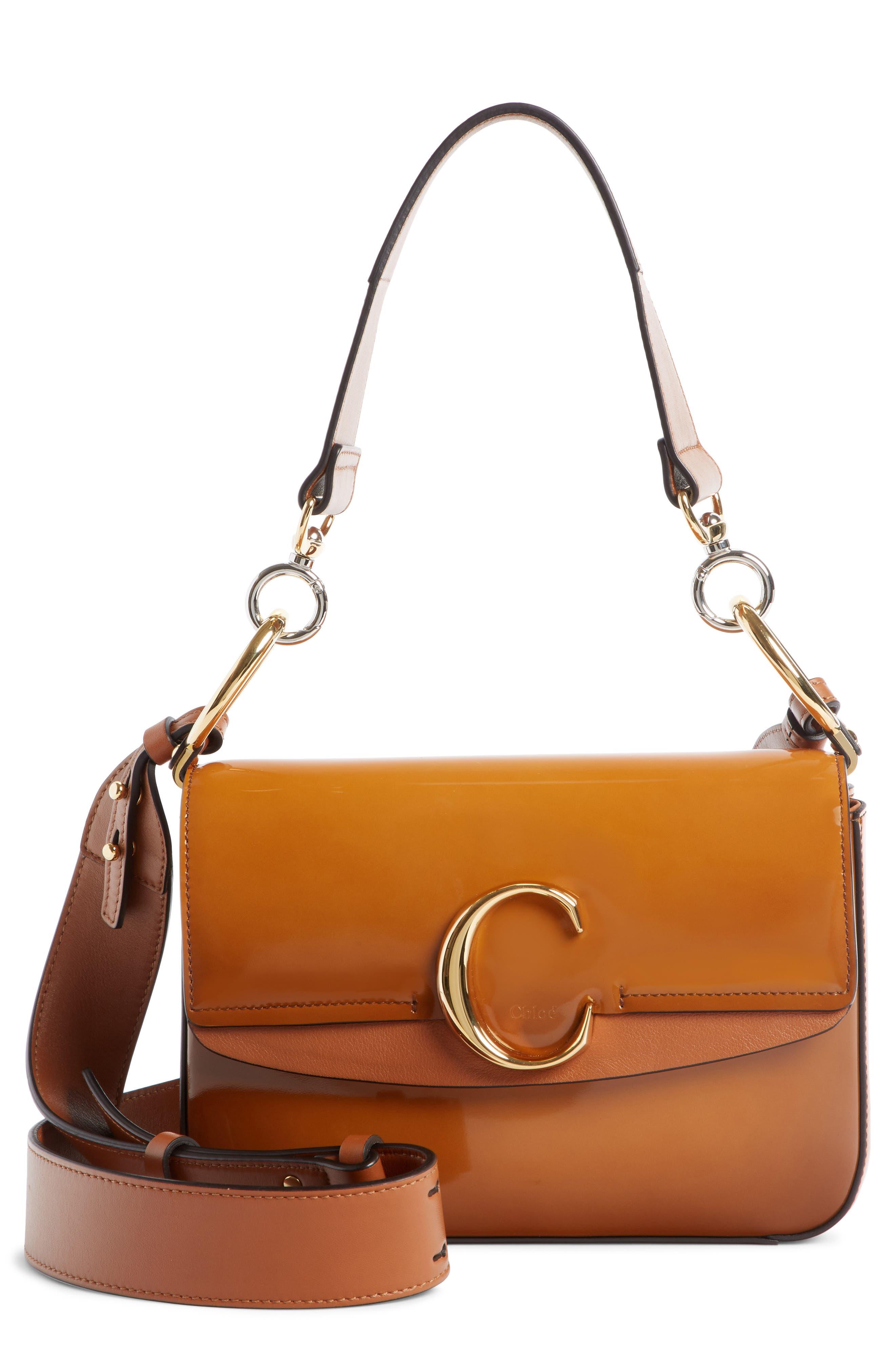 Patent Leather Shoulder Bag,                             Main thumbnail 1, color,                             CARAMEL