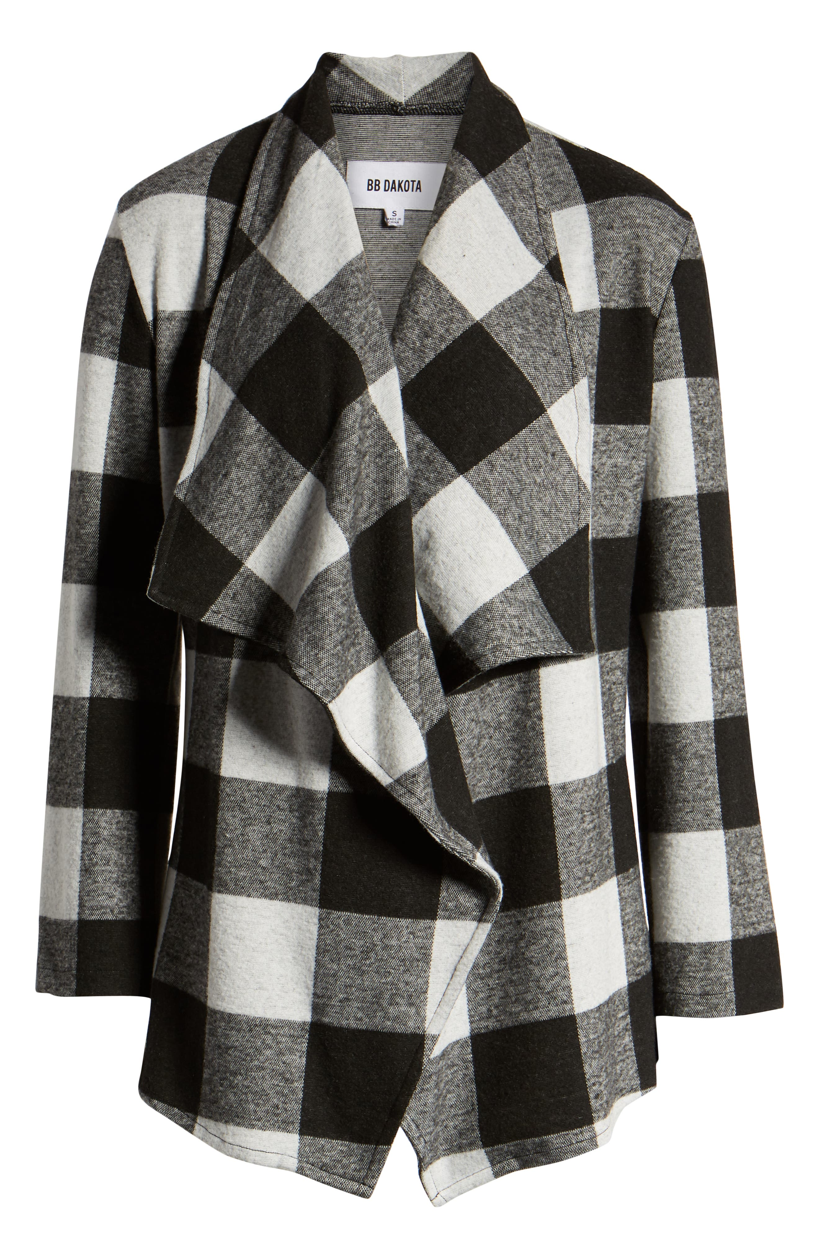 Checking It Open Front Knit Jacket,                             Alternate thumbnail 6, color,                             BLACK