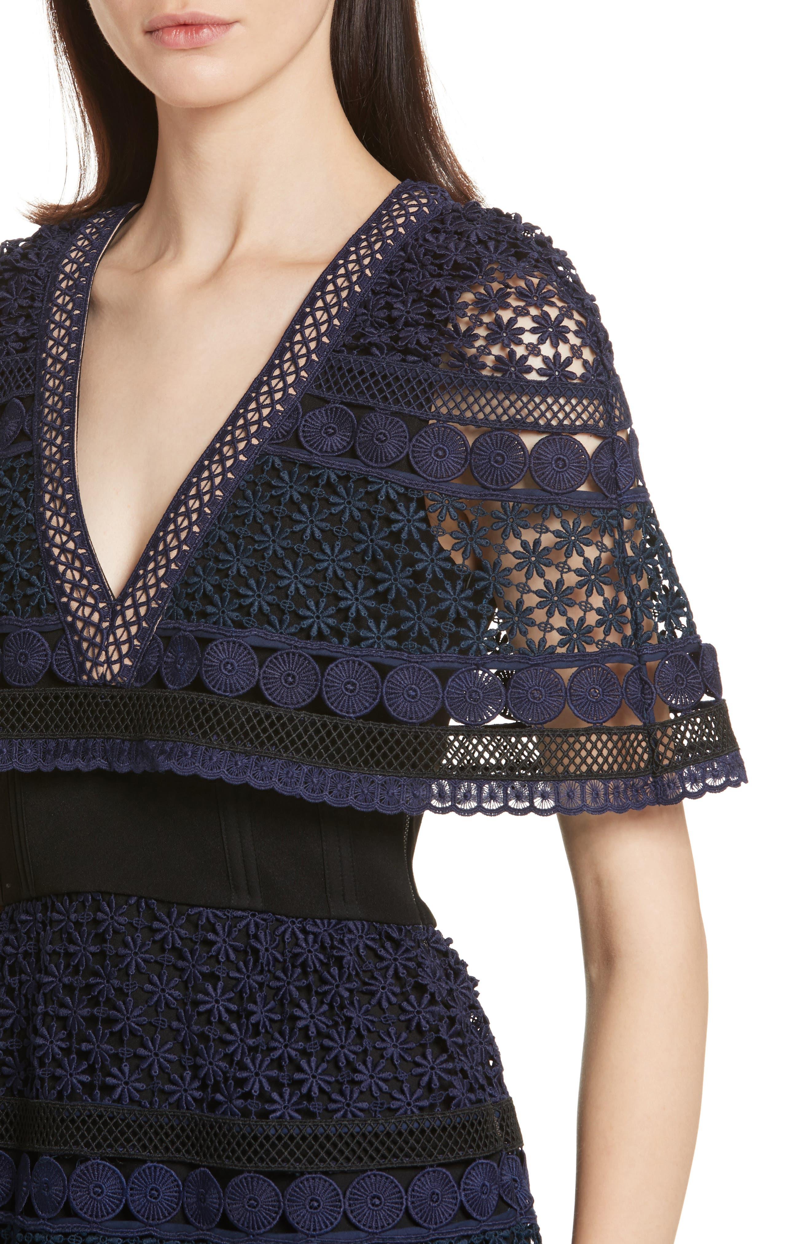 Guipure Lace Cape Dress,                             Alternate thumbnail 4, color,                             400