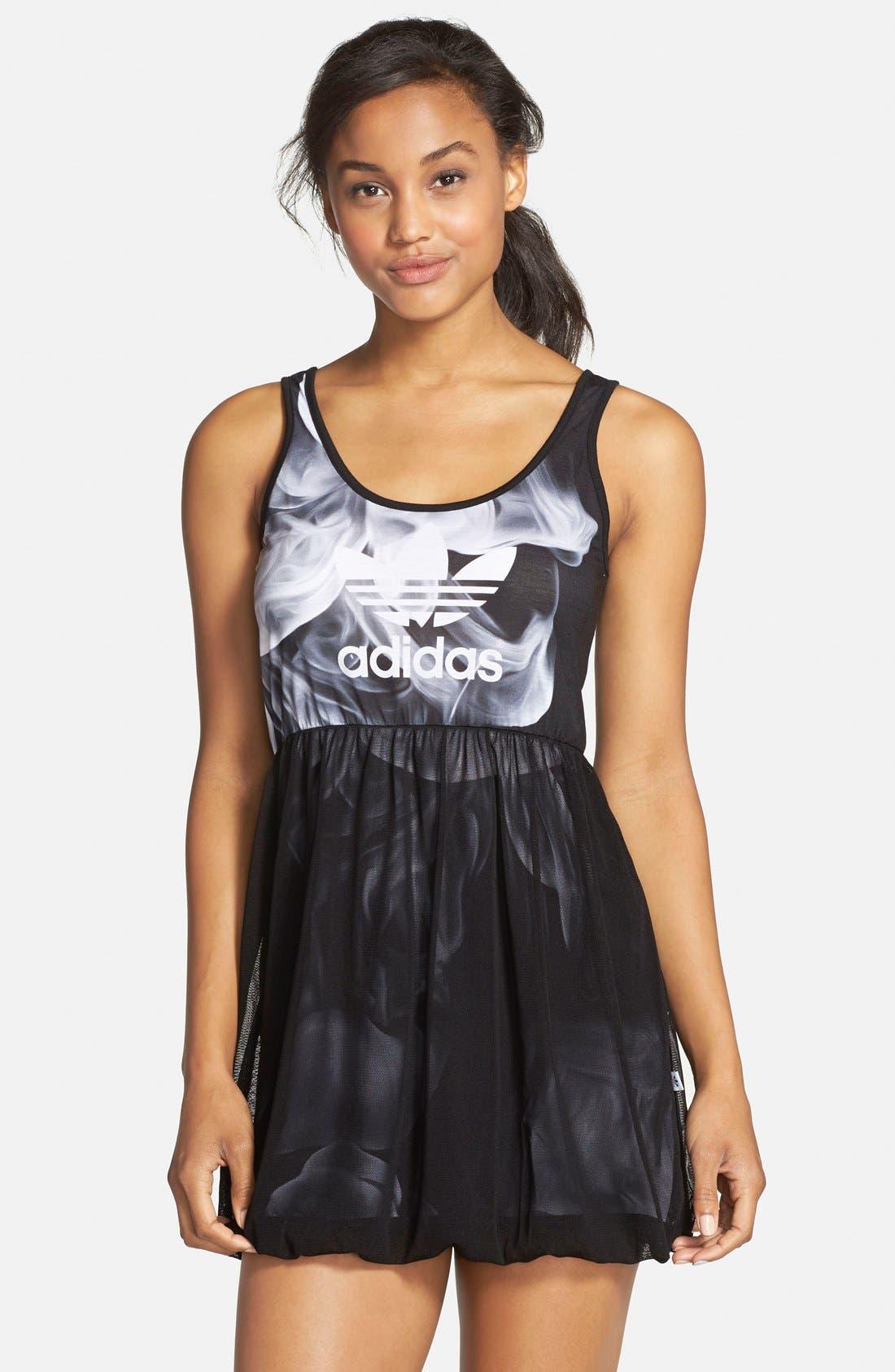 adidas 'White Smoke' Tank Dress, Main, color, 001