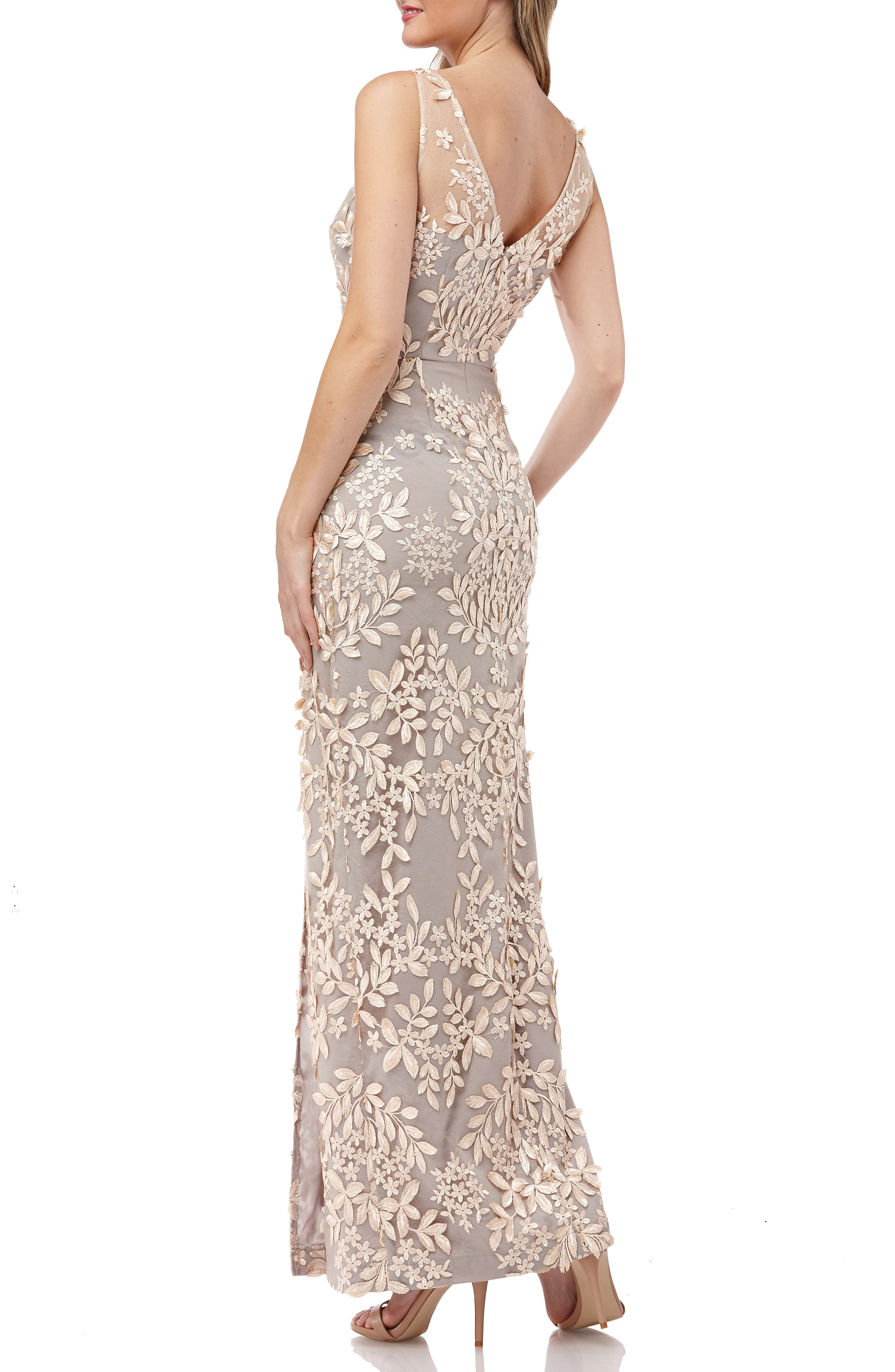 Leaf Embroidered Gown,                             Alternate thumbnail 2, color,                             270