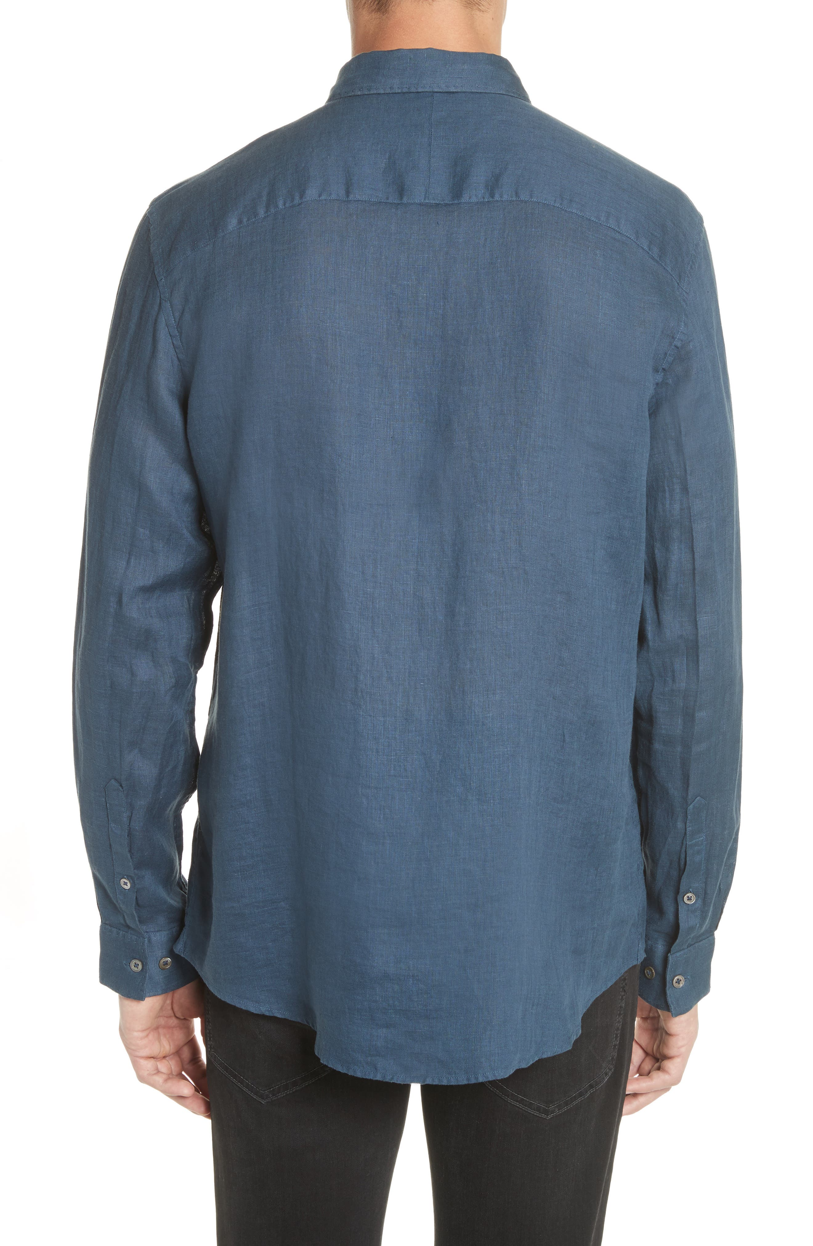 Garment Dyed Linen Shirt,                             Alternate thumbnail 2, color,                             LAKE BLUE