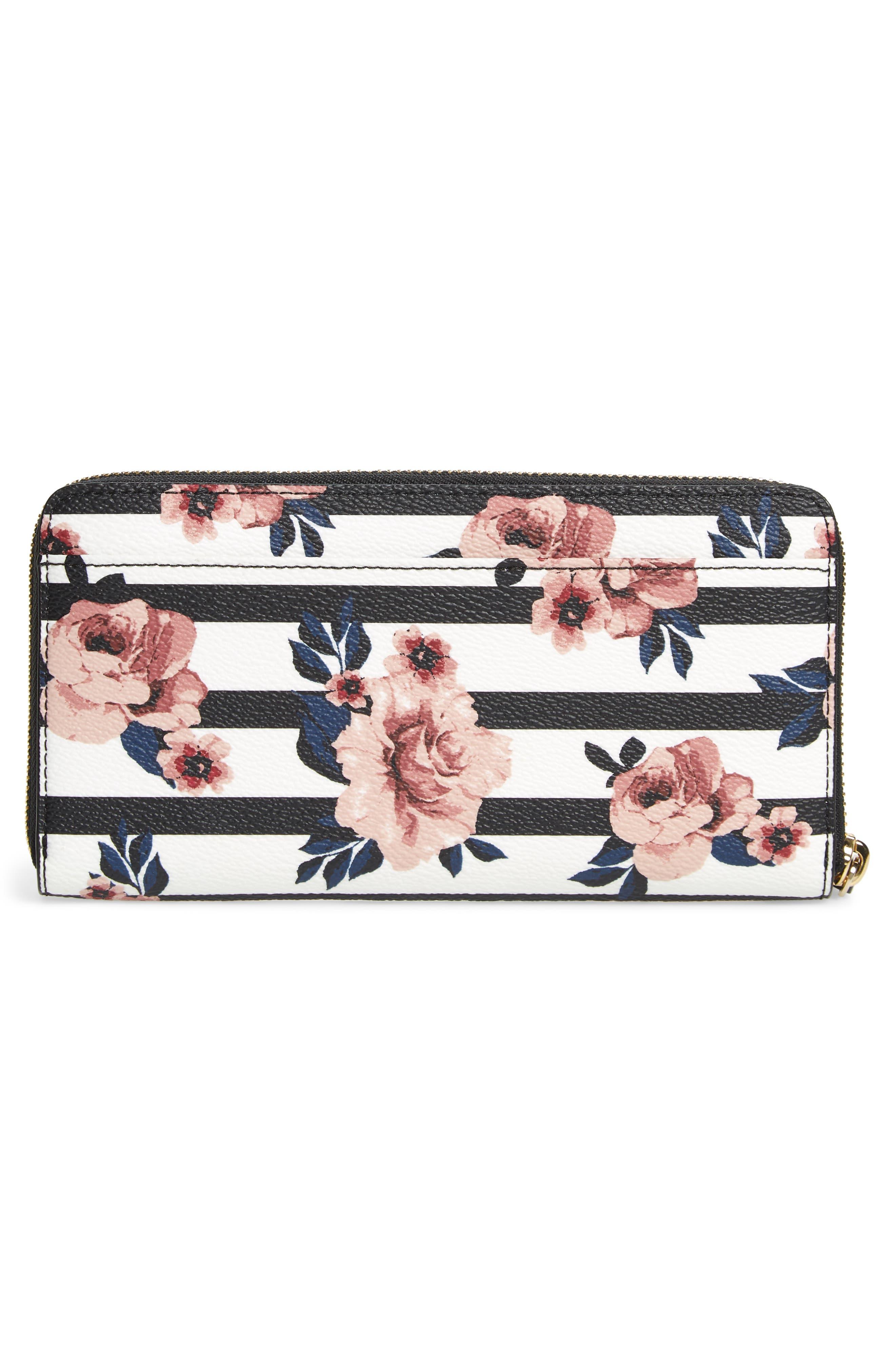 KATE SPADE NEW YORK,                             hyde lane - rose stripe lacey zip around wallet,                             Alternate thumbnail 3, color,                             001