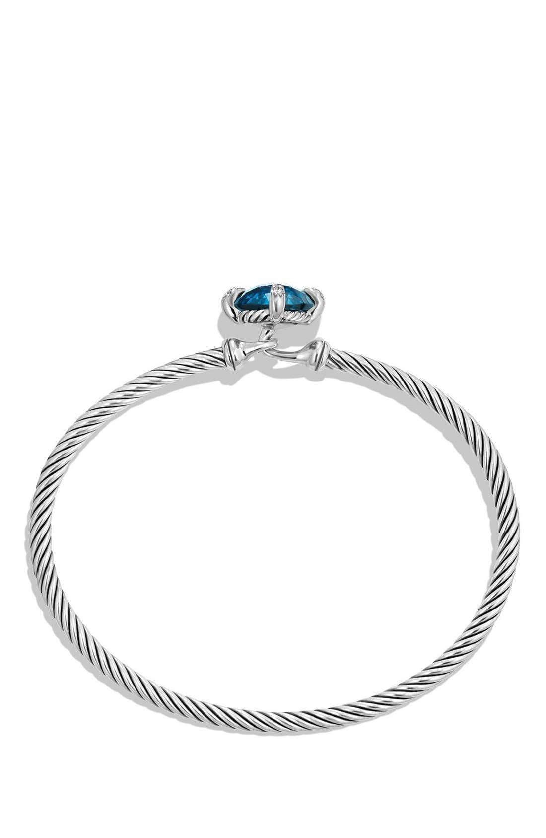 'Châtelaine' Bracelet with Diamonds,                             Alternate thumbnail 2, color,                             SILVER/ HAMPTON BLUE TOPAZ