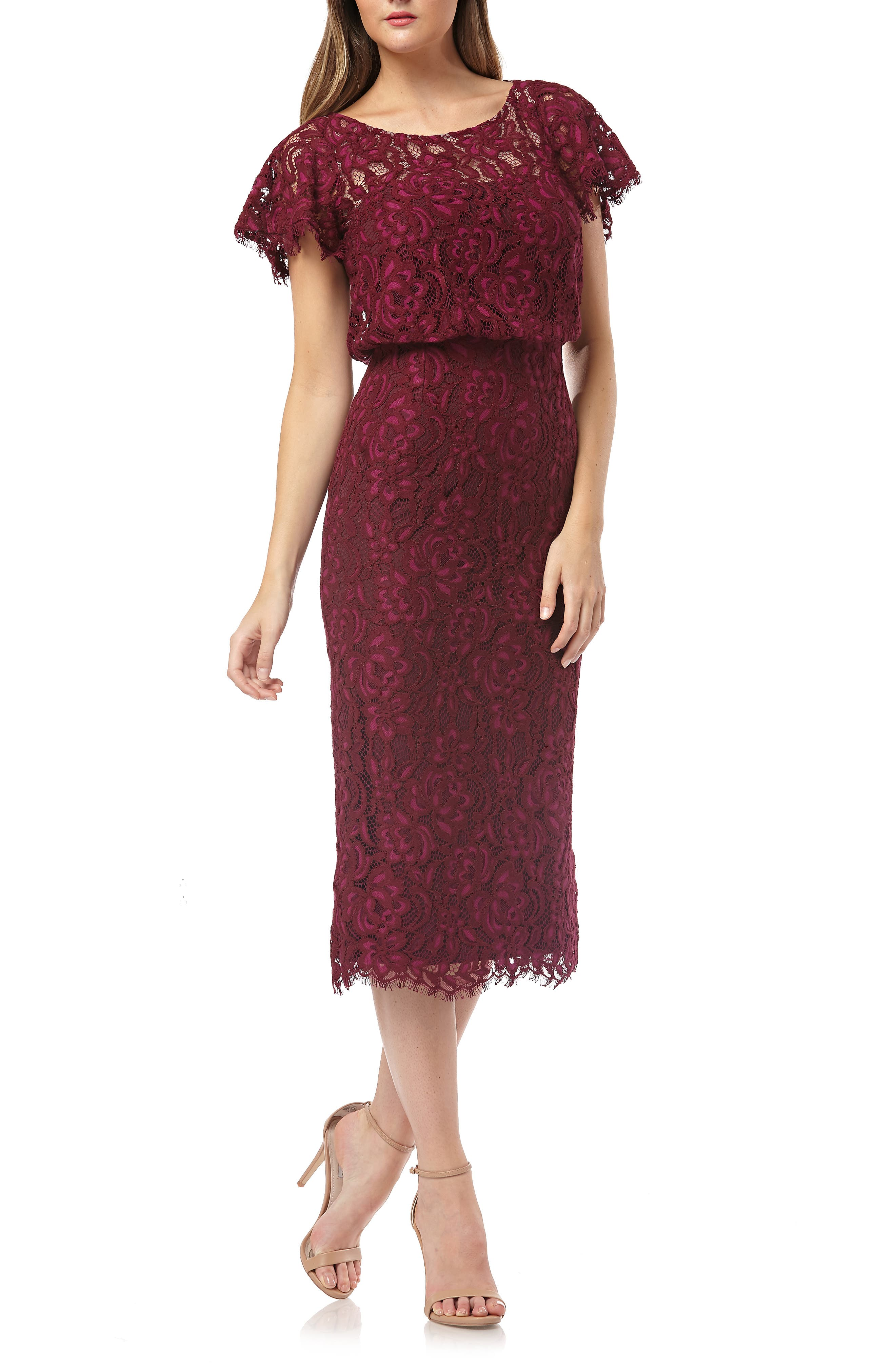 Js Collections Embroidered Lace Blouson Cocktail Dress, Red