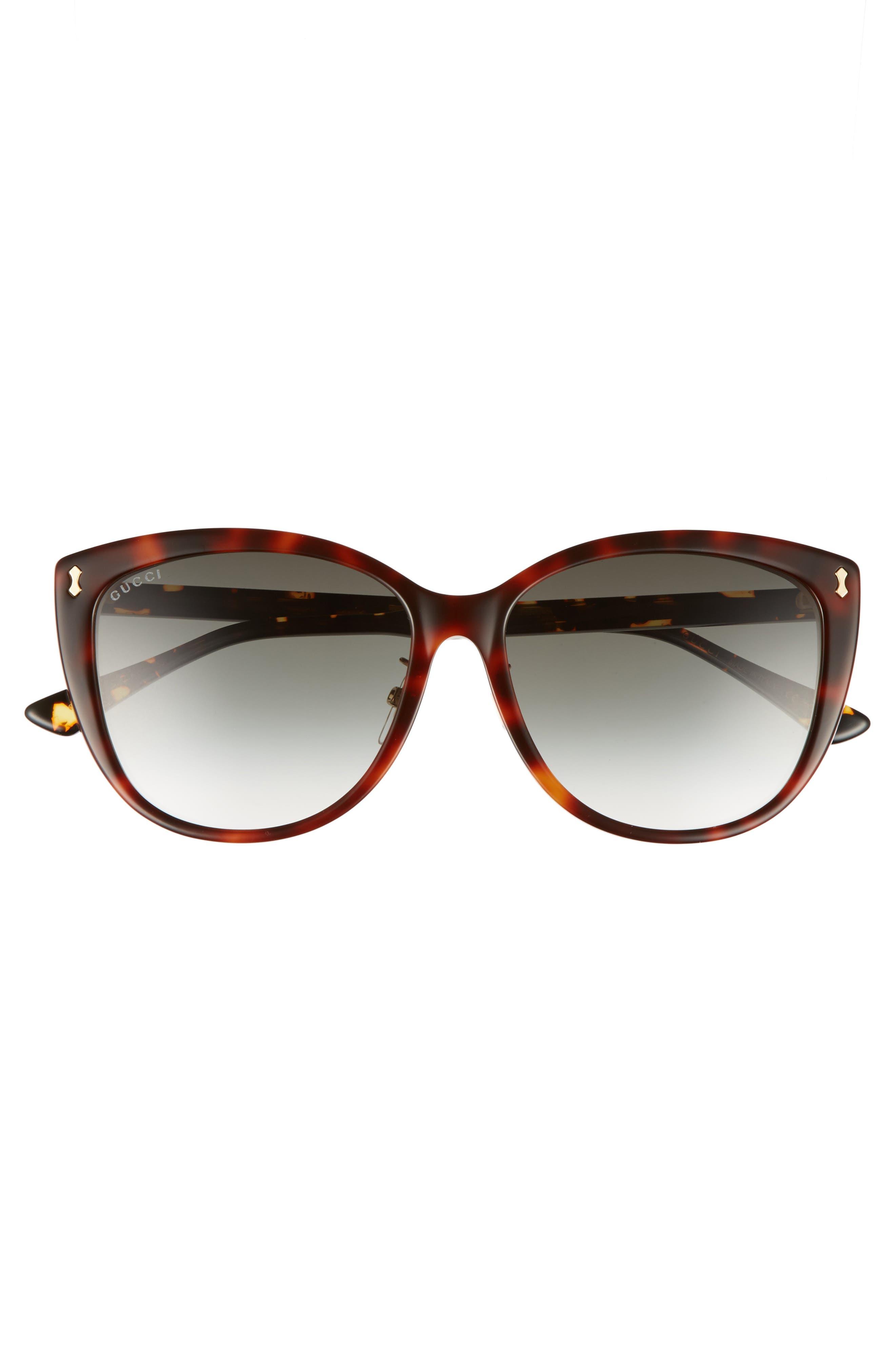58mm Cat Eye Sunglasses,                             Alternate thumbnail 3, color,                             HAVANA