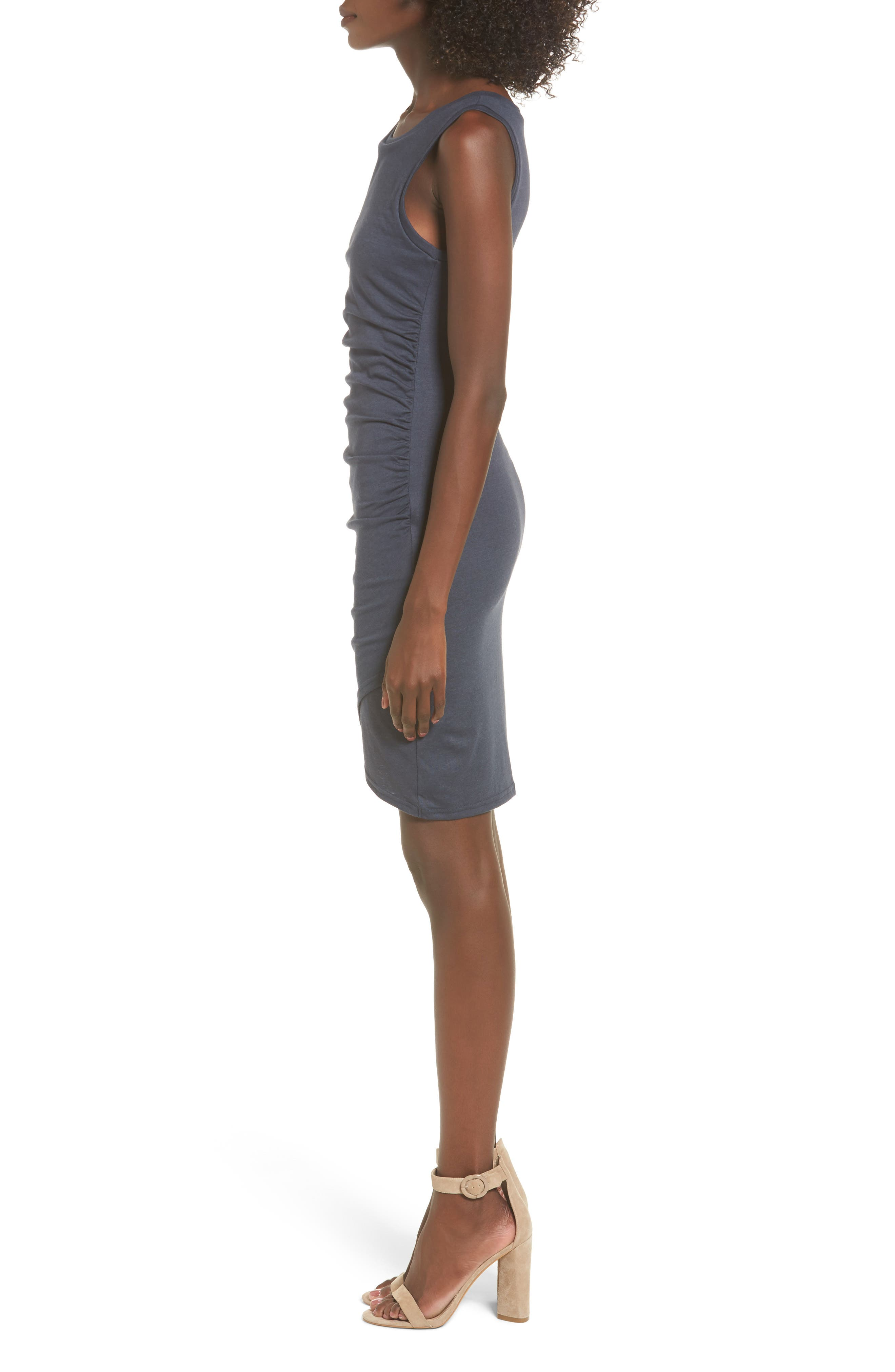 Ruched Body-Con Tank Dress,                             Alternate thumbnail 3, color,                             NAVY INDIA INK